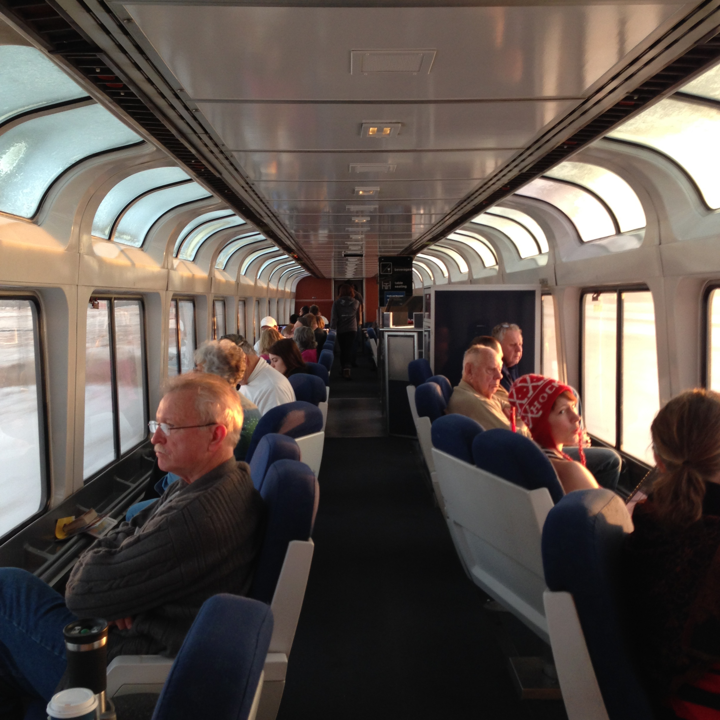 The observation car on the Empire Builder.  Look into your future.
