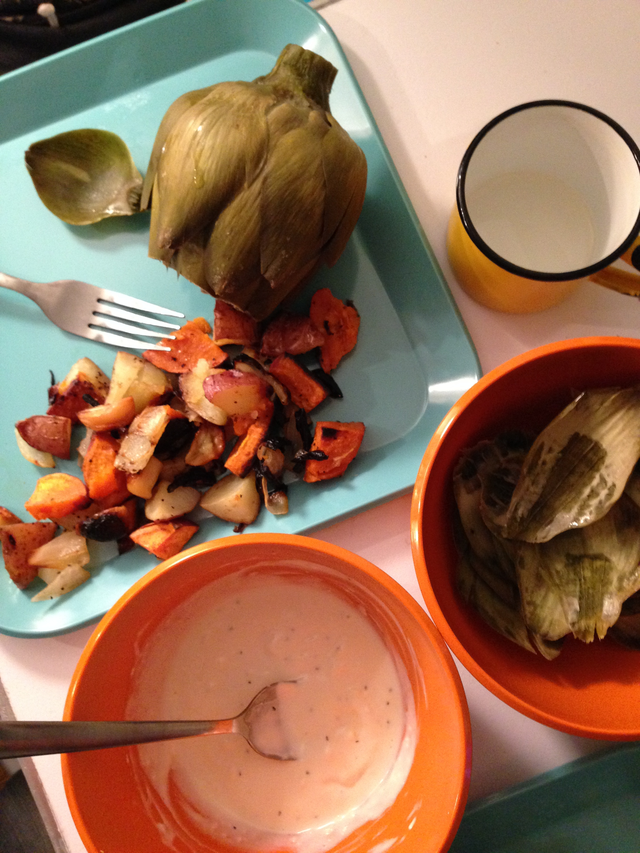 Before going home to an awesome dinner.  Artichokes are my favorite!