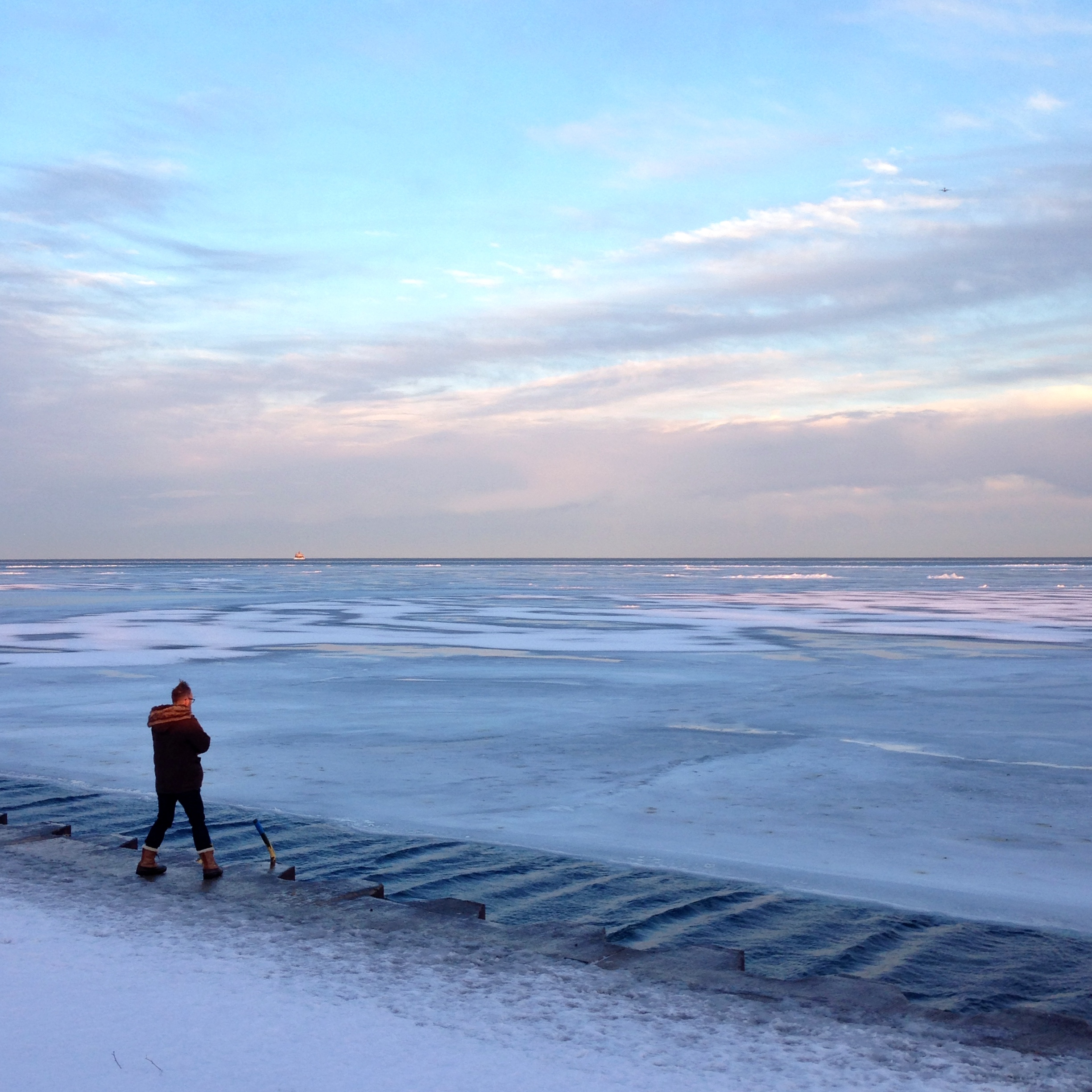 Eric shooting frozen lake Michigan. I had to go back in the car.