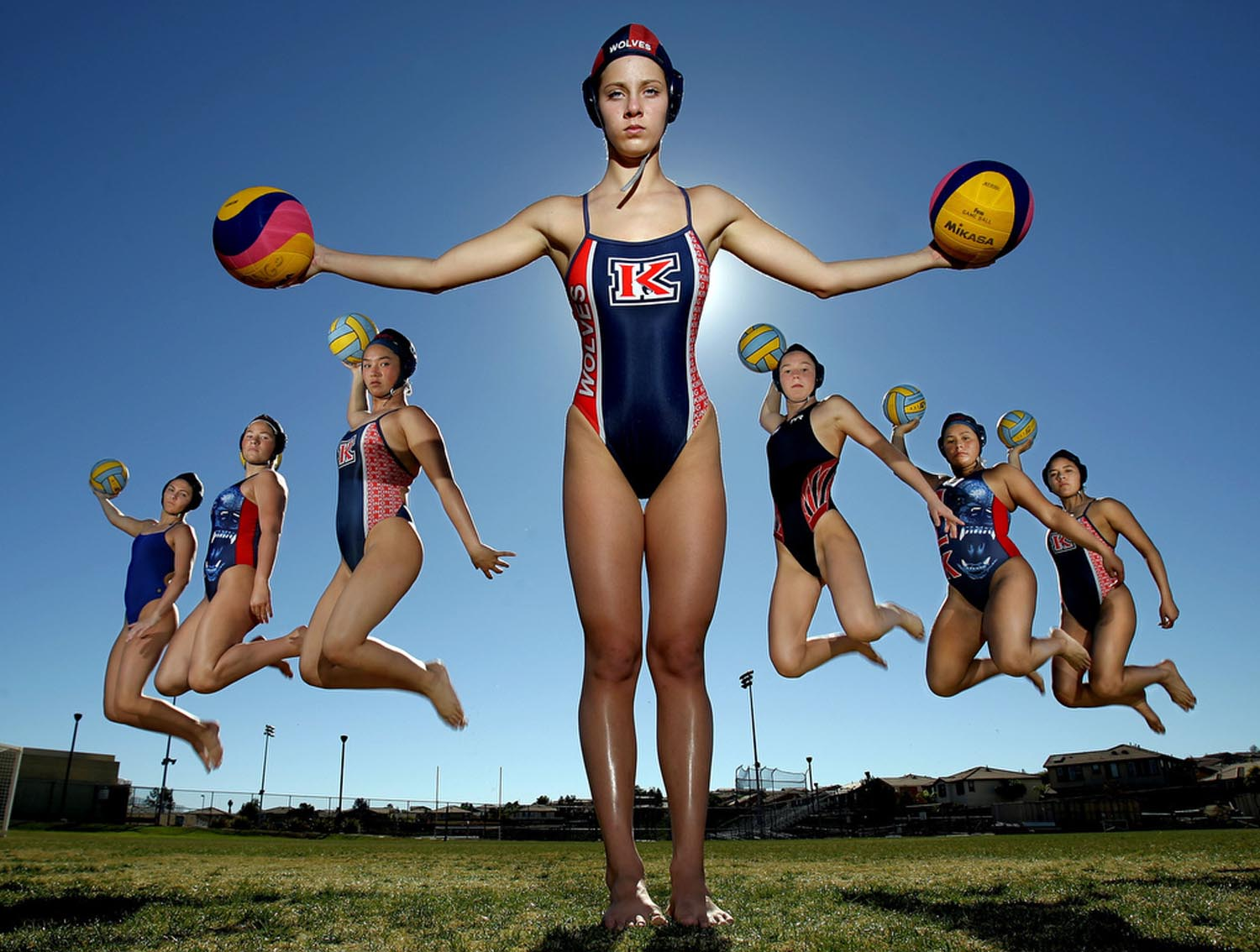 Riverside King water polo starters from left Mary Myers, Caitlyn Eno, Samantha Shaw, Hannah McCarley, Madison Stamen, Chase Kelly and Anay Ramirez are ready to fight their way to a CIF title Wednesday in Riverside, CA. November 26, 2014.