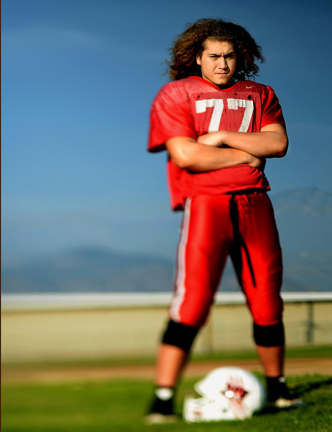 Redlands East Valley left tackle Joseph Price has his eyes on a State championship Saturday as he gets ready for practice Thursday in Redlands, CA. December 11, 2014.