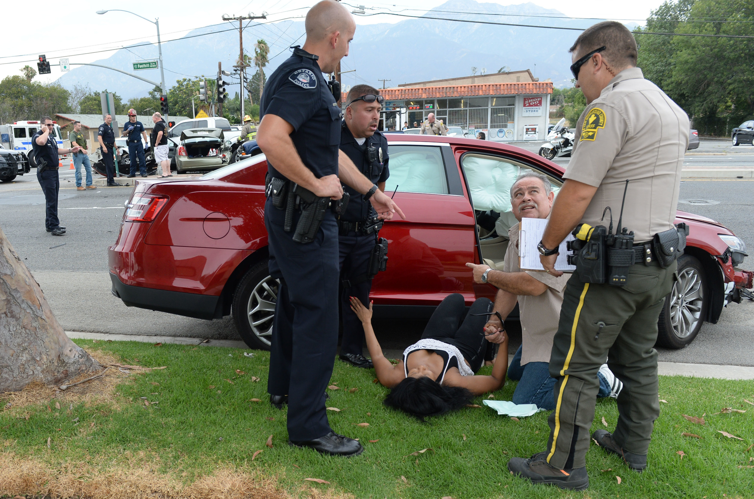 Two innocent motorists required to be transported to a local hospital following a crash at the corner of Hermosa Ave and Foothill Blvd. after a police pursuit which went through Ontario, Upland and Rancho Cucamonga Wednesday July 1, 2015. The crash involved 6 vehicles, including the suspects, who was taken into custody. There were a few other motorists injured at the scene but did not require transport.