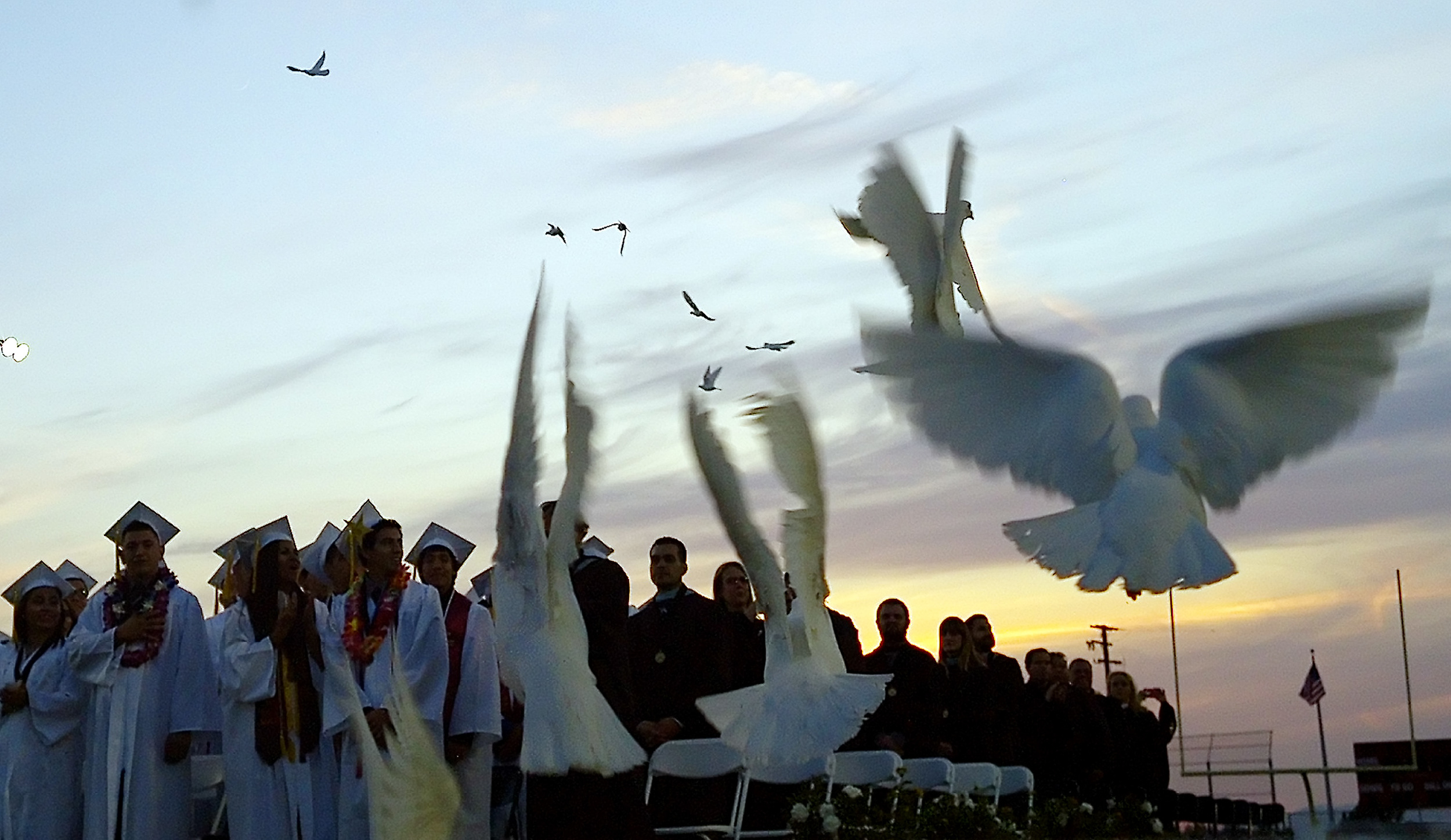 Graduates look on as birds are released during the La Puente High School 100th commencement ceremony at La Puente High School in La Puente, Calif., on Tuesday, May 19, 2015.