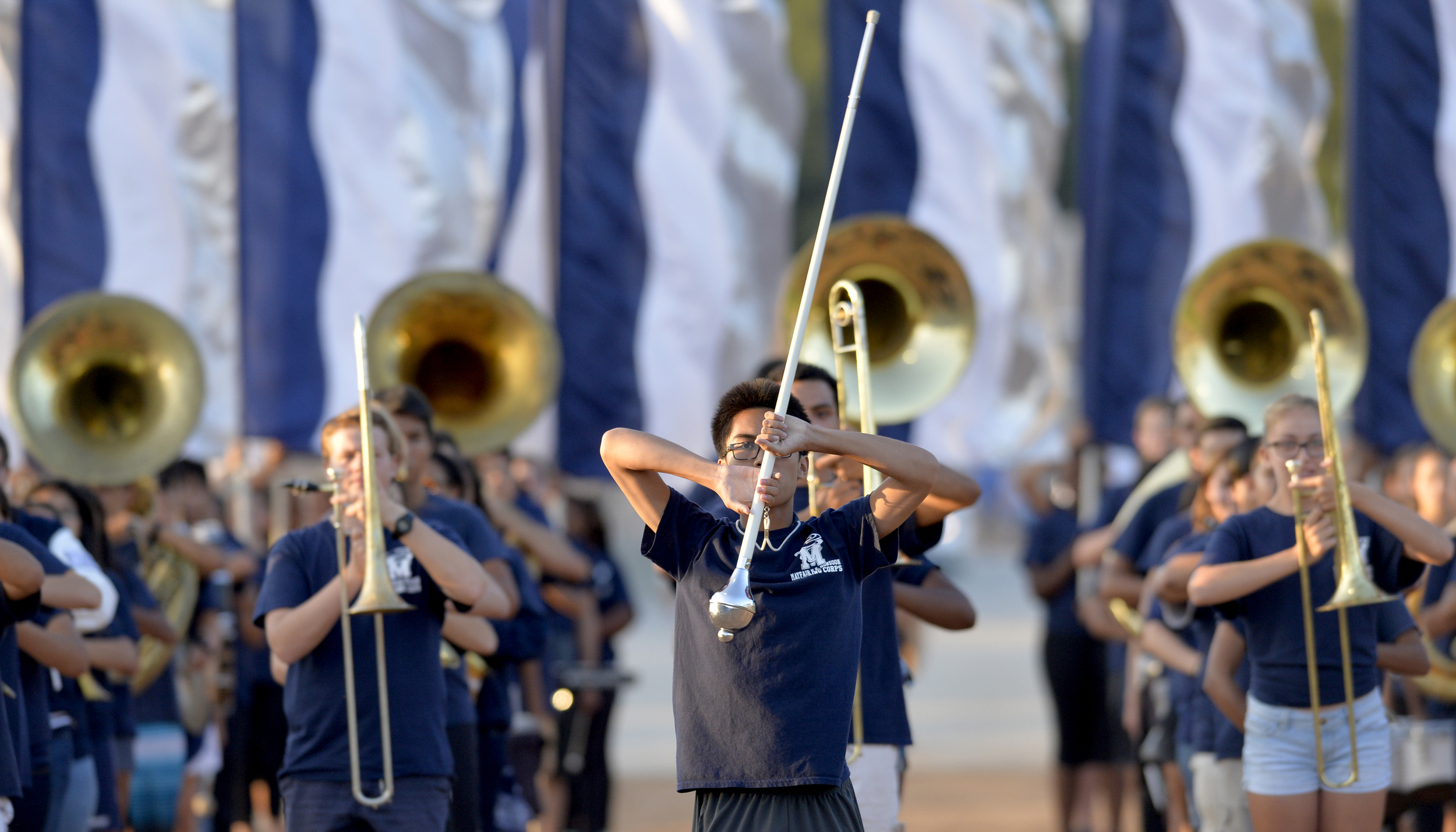 Gahr High school band performs a pregame show before the high school football team takes on Mayfair at Ron Yary Stadium in Bellflower, CA. Friday September 4, 2015.