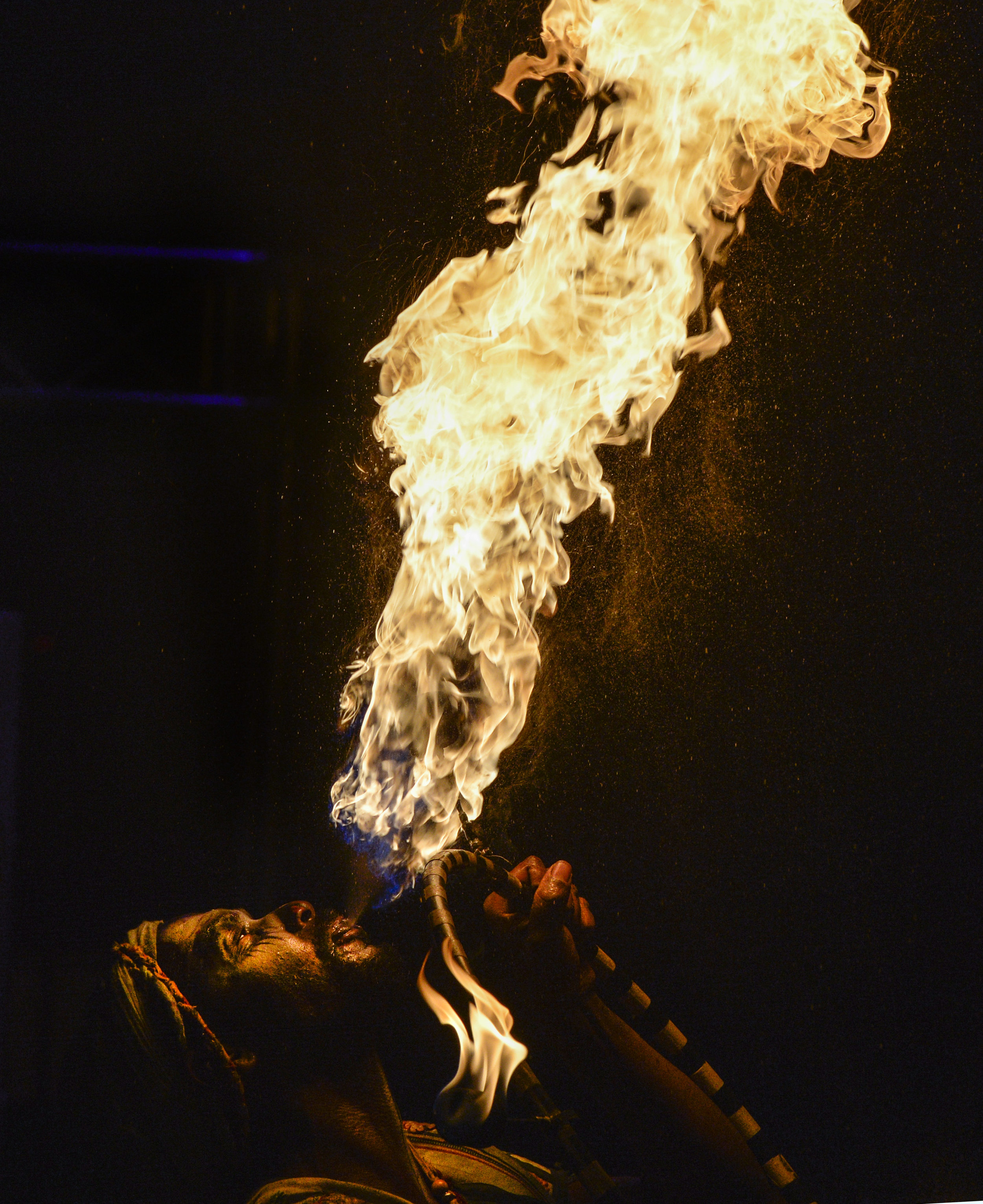 Solar Greye blows fire to end a performance at the Queen Mary's Dark Harbor which opens this weekend in Long Beach CA. Thursday October 1, 2015.