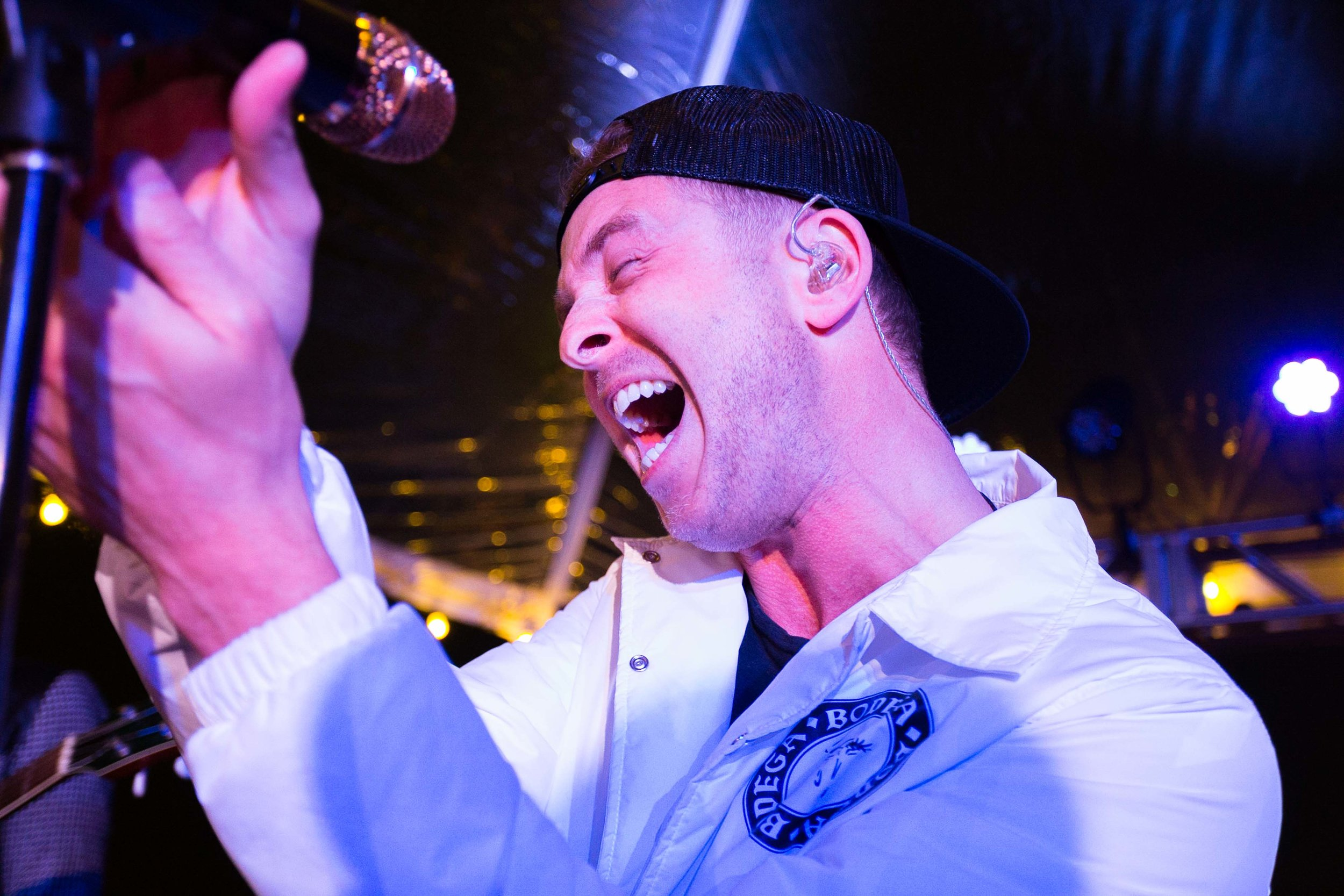 "Ryan Tedder, the lead vocalist for OneRepublic, hits the high notes for ""All the Right Moves"" on the rooftop of the Beverly Hilton on Feb. 8, 2017."