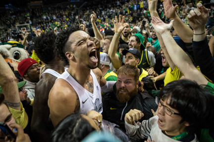 Oregon forward Dillon Brooks screams into the crowd after scoring a game-winning 3-pointer against UCLA with less than a second left on the clock at Matthew Knight Arena in Eugene, Ore.  on Dec. 28, 2016. Brooks ended UCLA's 13-game undefeated streak with a final score of 89-87.
