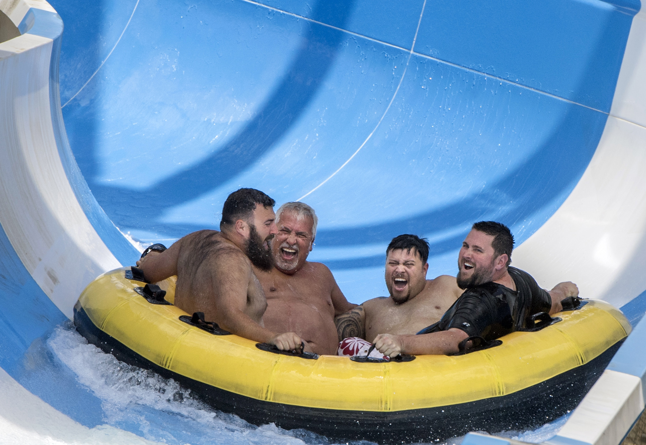The Wedge whips riders around a slide at Knott's Soak City in Buena Park on Sunday, May 13, 2018. The park officially opens on May 19. Sunday was reserved for annual pass holders.