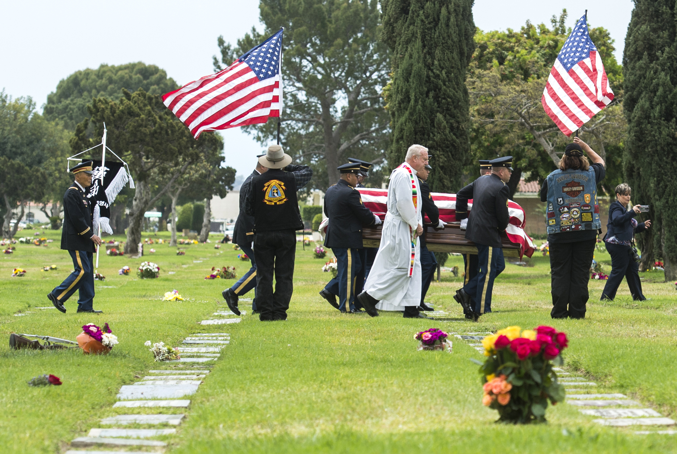 A military detail carries the casket of United States Army Cpl Albert E. Quintero, a soldier who went missing/died in the Korean War in action in Long Beach Monday, May 14, 2018. Quintero was buried with full military honors 67 years after he went missing in action.