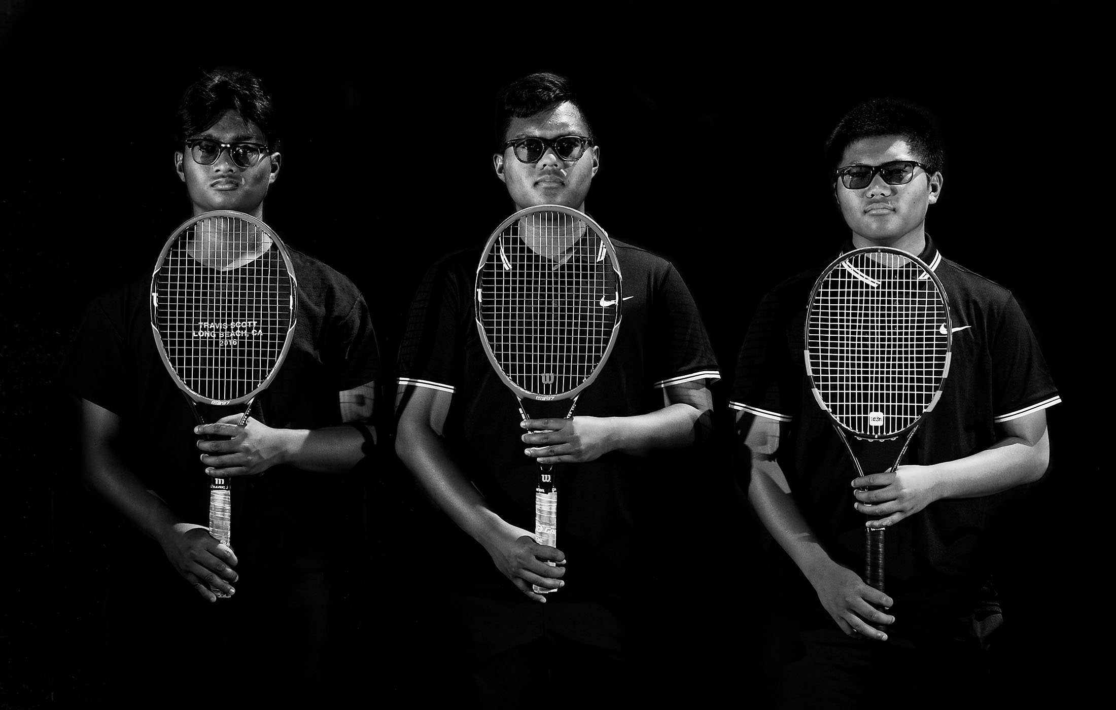 Tennis brothers from left Etiwanda's Clyde Siringoringo, 16, Junior, DeAndre Siringoringo, 18, Senior and Dwayne Siringoringo, 14, Freshman have the talent and  personalities as they lead the team to the playoffs Monday in Rancho Cucamonga, Calif. May 7, 2018.