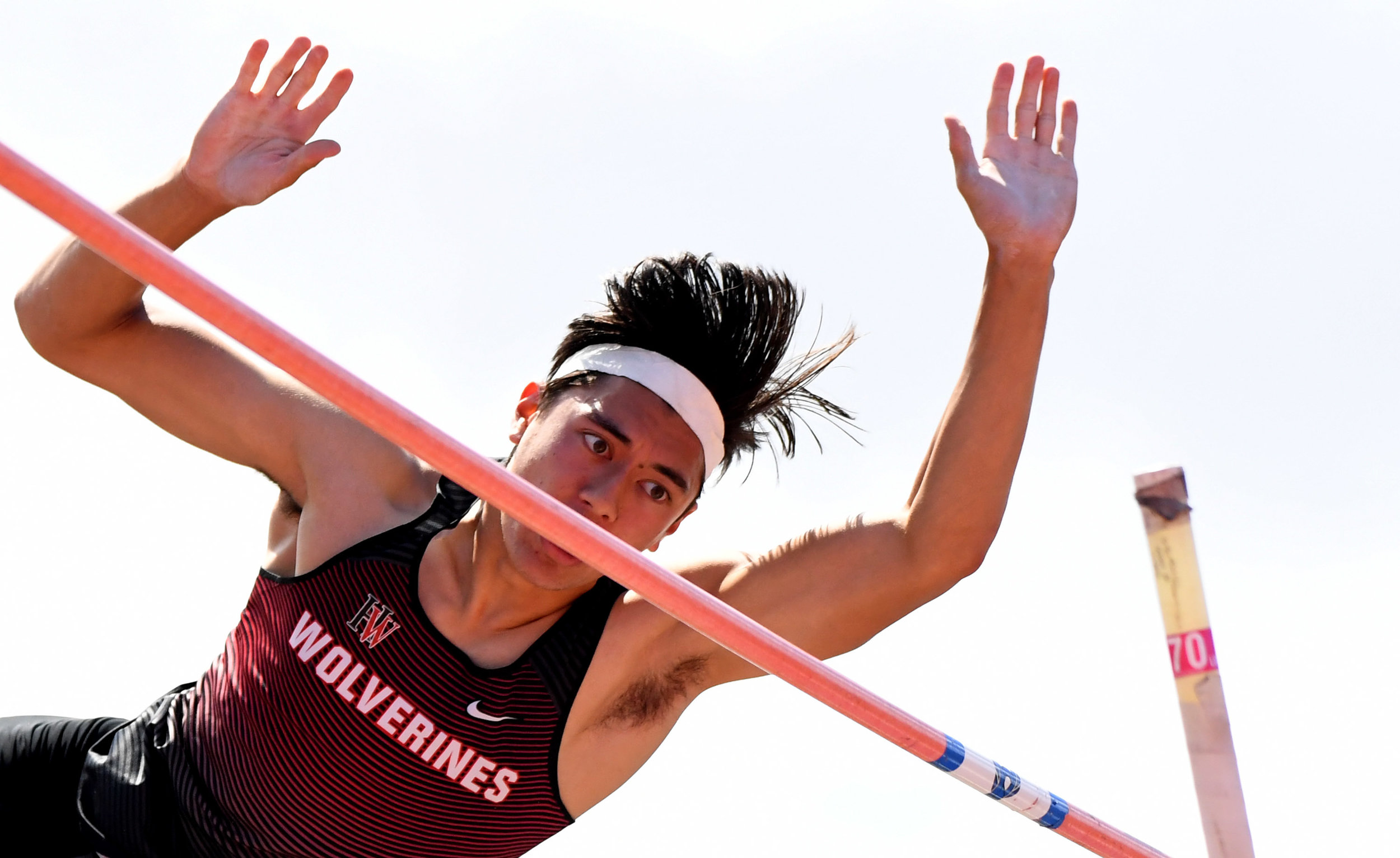 Harvard Westlake's Tiber Seireeni finished second win the pole vault during the CIF-SS Track and Field Masters meet at El Camino College in Torrance, Calif., on Saturday, May 26, 2018.