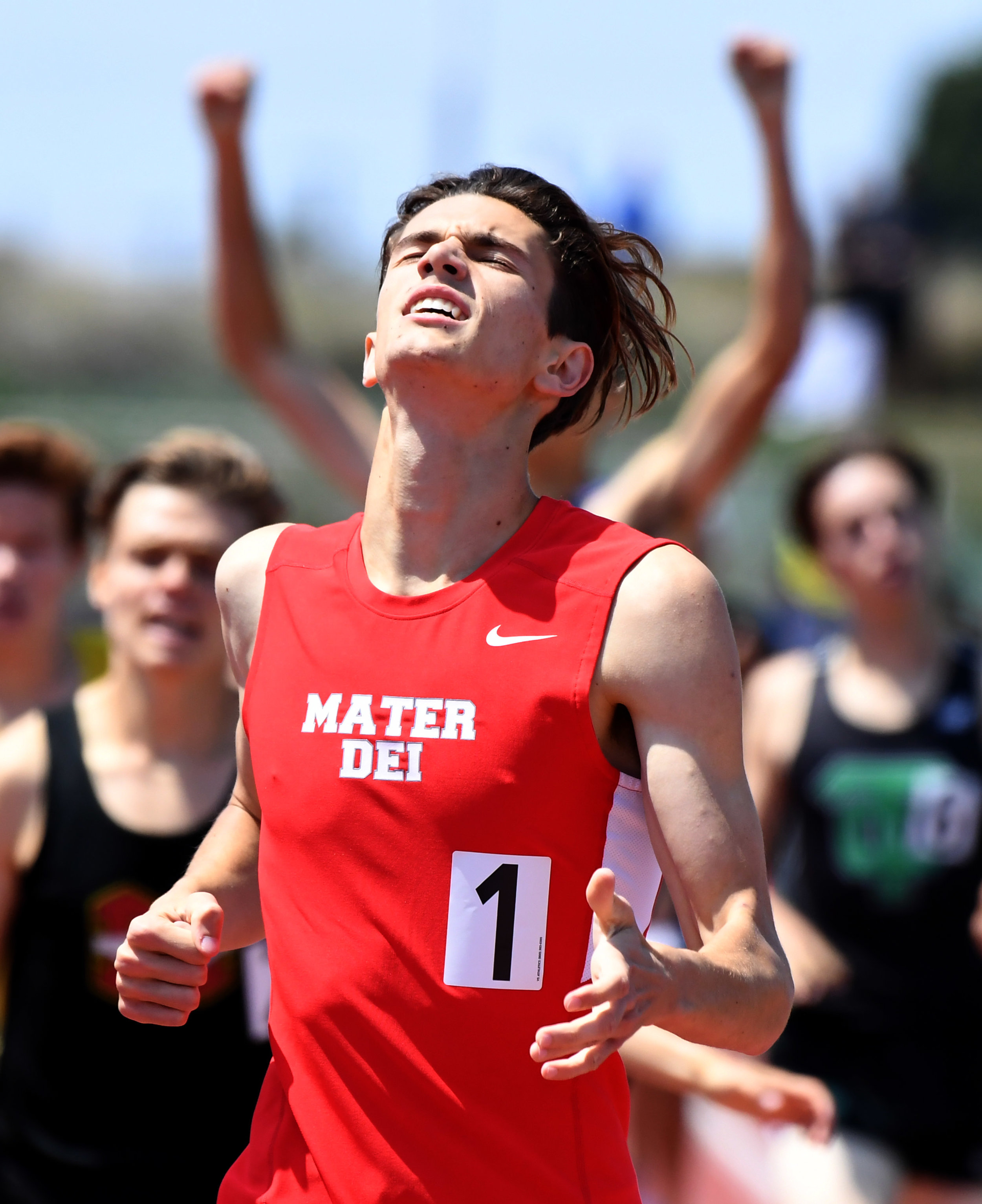 Mater Dei;s Sam VanDorpe wins the 800 meter dash during the CIF-SS Track and Field Masters meet at El Camino College in Torrance, Calif., on Saturday, May 26, 2018.