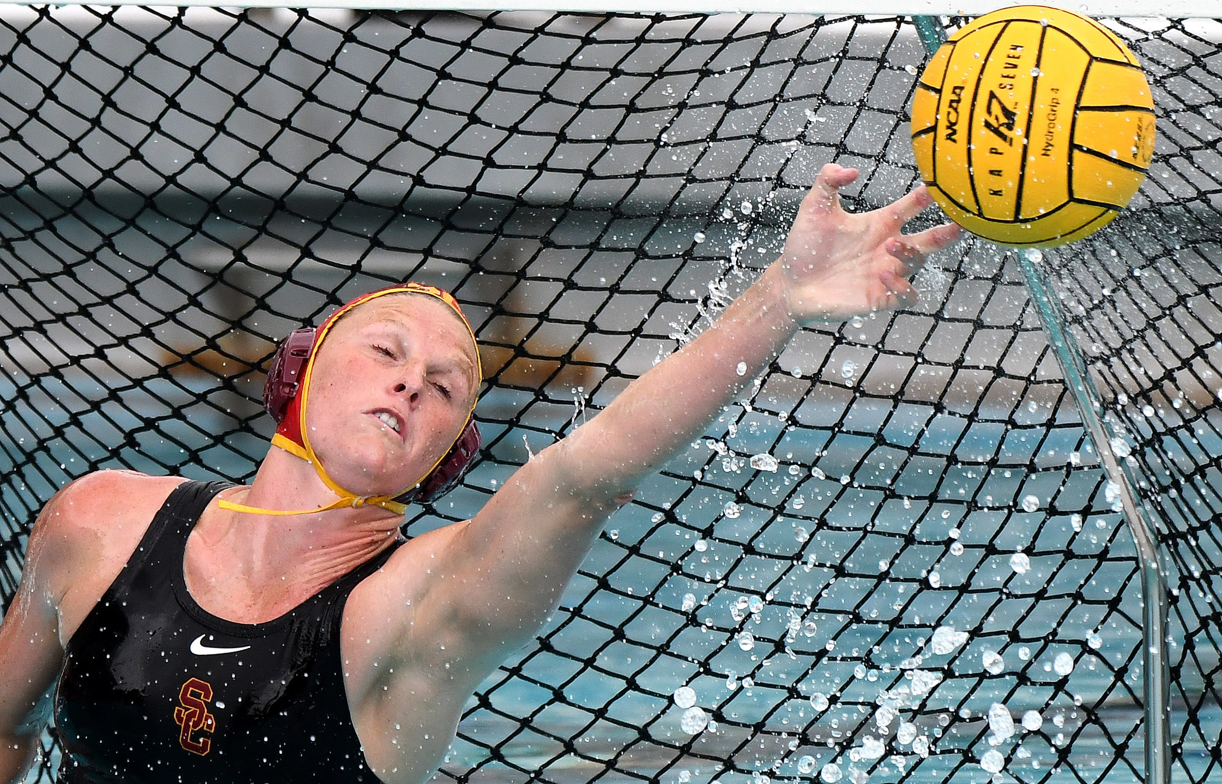 USC goalie Amanda londgran blocks a UCLA shot in the first half of a NCAA semifinal waterpolo match at the Uytengsu Aquatics Center on the campus of the University of Southern California on Saturday, May 12, 2018 in Los Angeles.
