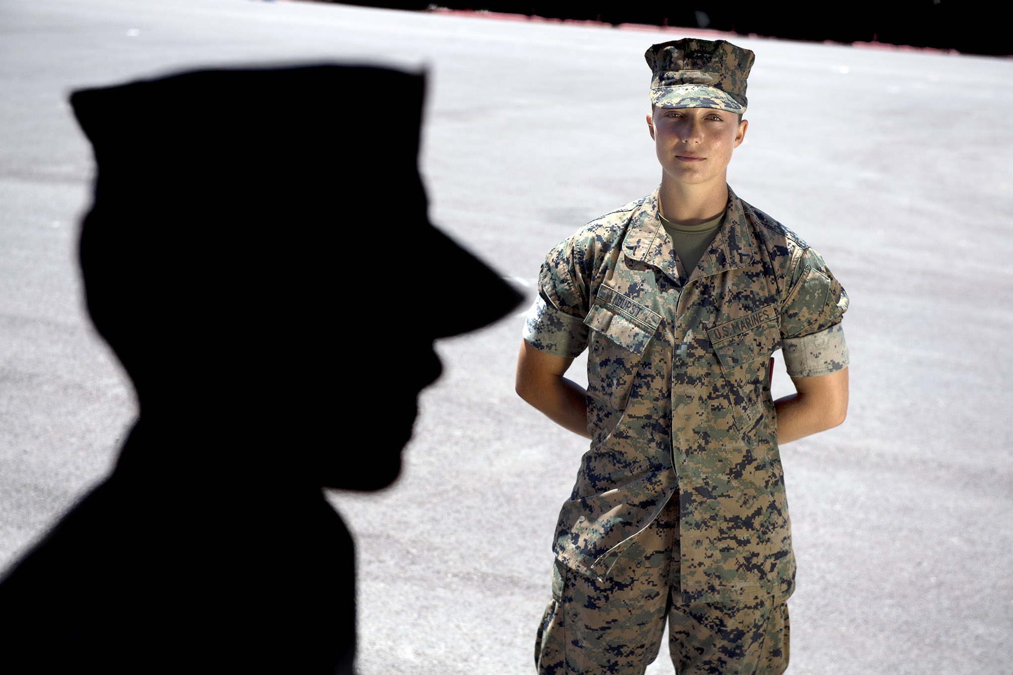 Sara Durst, 26, is recognized as the honor graduate, beating out 266 male and female students in the Marine Combat Training Battalion at Camp Pendleton on Tuesday, July 24, 2018.
