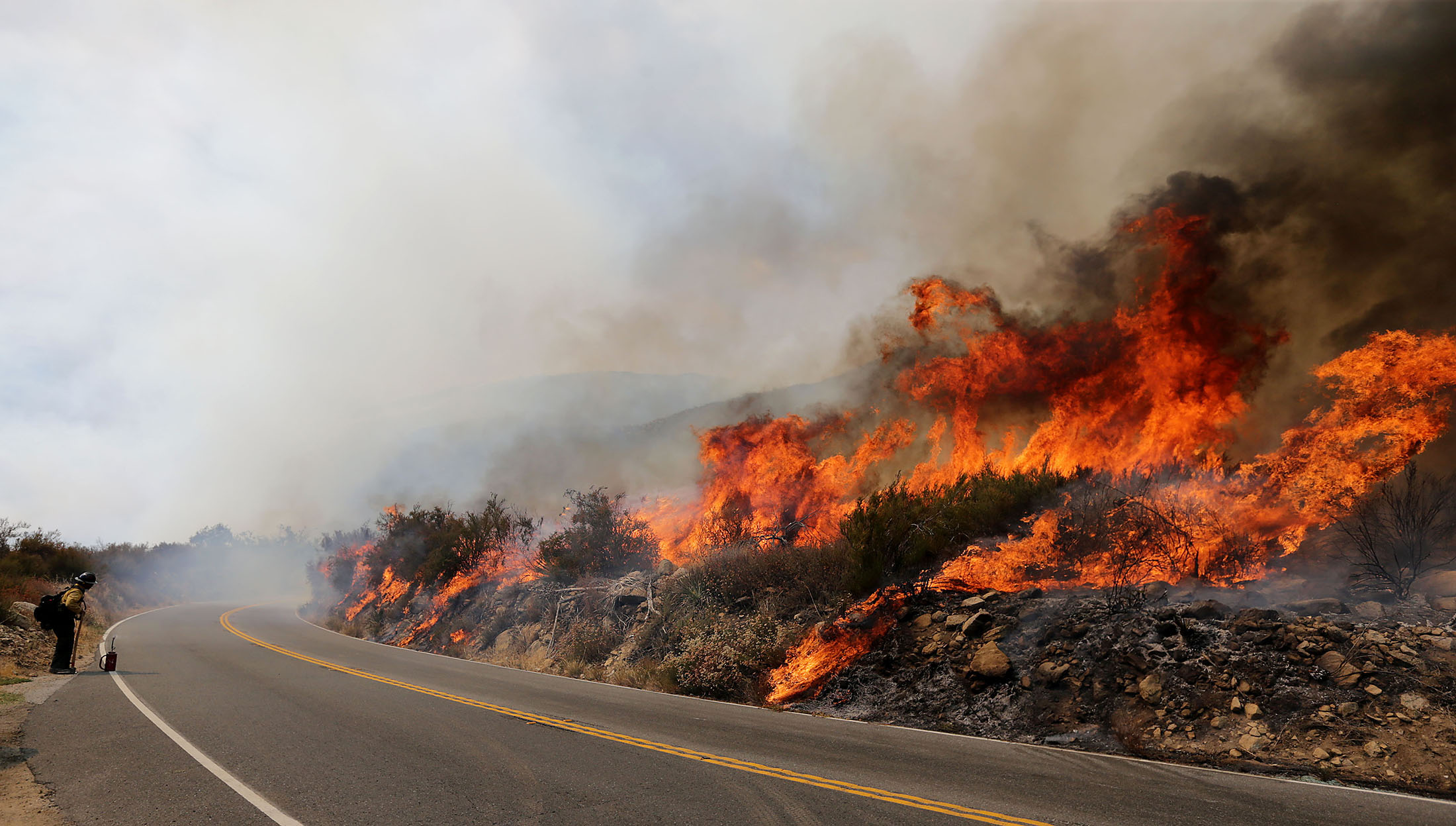 The Cranston fire jumped from 25 acres to hundreds of acres within minutes, according to tweets from the San Bernardino National Forest above Hemet on Wednesday, July 25, 2018.