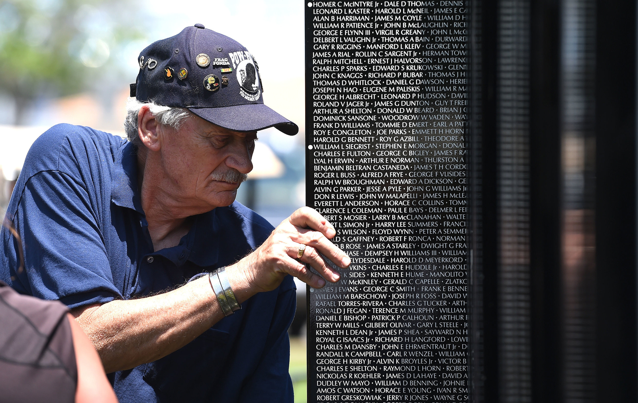 Vietnam Army veteran Steve Mackey, 68 from Jurupa Valley pulls the first panel of the Vietnam Moving Wall out of it's shipping container Thursday at Ayala Park in Bloomington. Volunteers, many being Vietnam veterans, helped construct the Vietnam Moving Wall in Ayala Park in Bloomington Thursday June 7, 2018. The wall, containing 58,318 names, with 132 being from San Bernardino County, will be on display 24-hours a day beginning Friday and lasting through Monday.