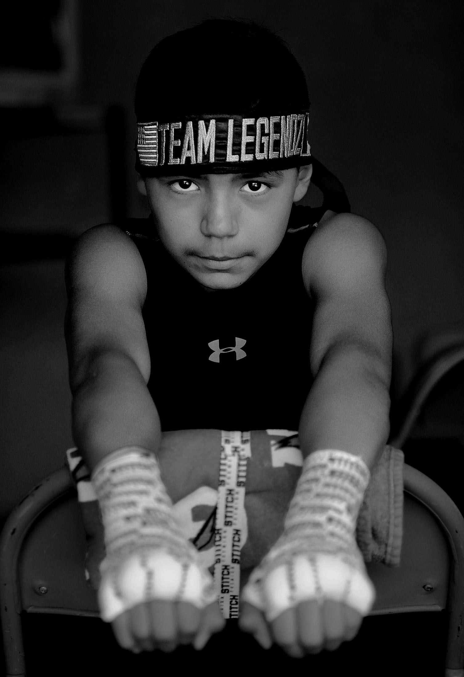 Team Legendz Boxing Club's Jonathan Trevino, 12, of San Jose is taped and ready to box in the first of 21 bouts of the day during the Future Olympics Champions at Lake Perris Sports Pavilion in Perris on Saturday, August 18, 2018.