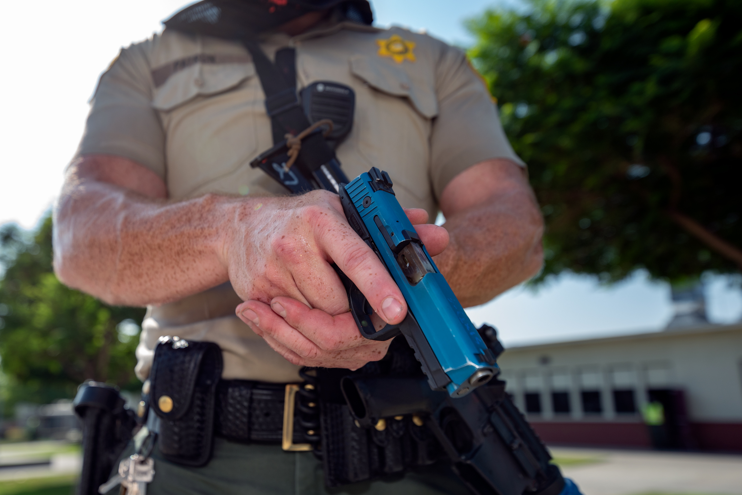 A Los Angeles Sheriff's deputy participates in an active shoot