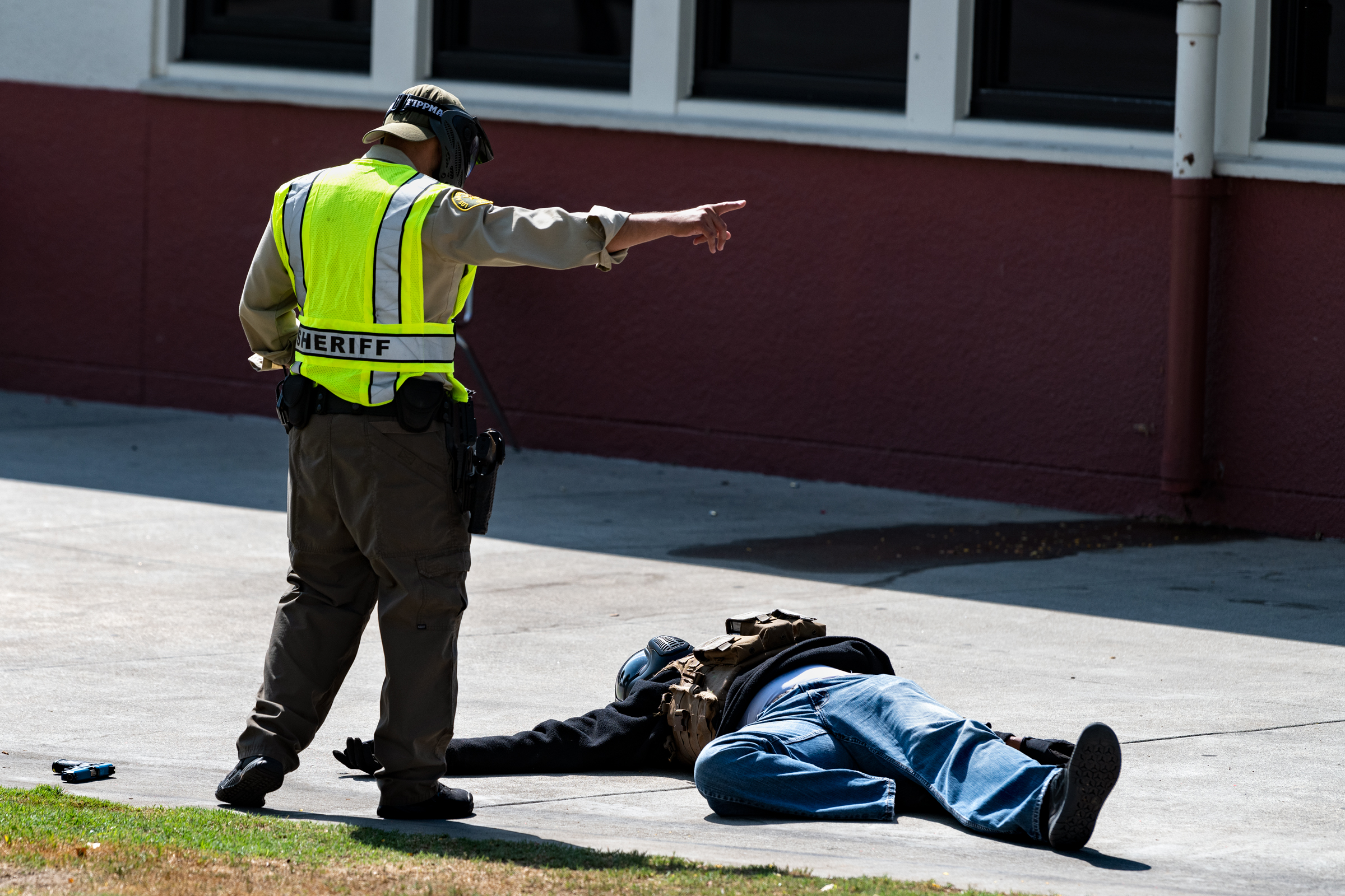 Los Angeles Sheriff's deputies participate in an active shoote