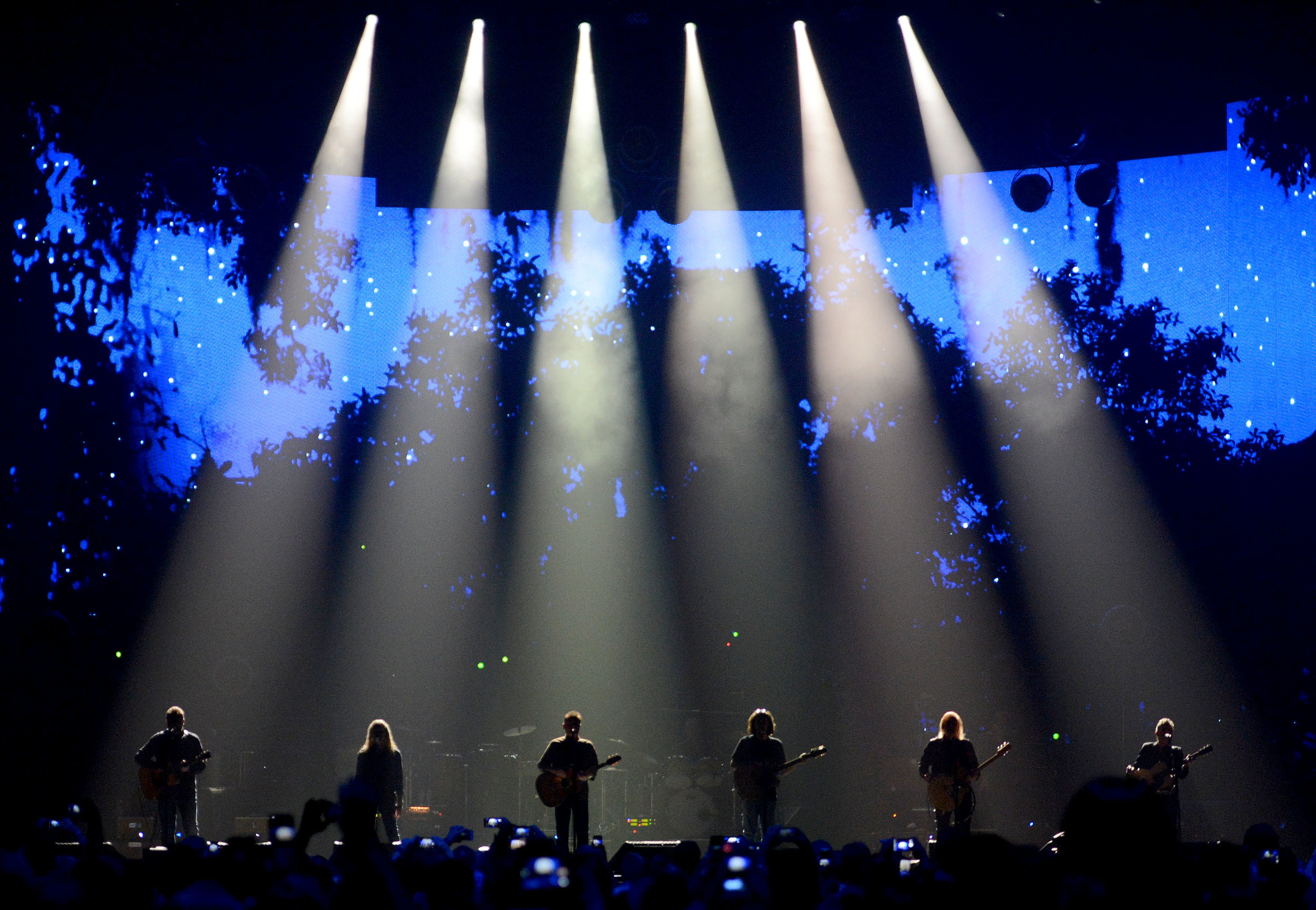 The Eagles, from left, Vince Gill, Timothy B. Schmit, Don Henley, Deacon Frey (son of the late Glenn Frey), Joe Walsh and Steuart Smith  perform Wednesday, September 12, 2018 during the first of three shows at The Forum in Inglewood this week.