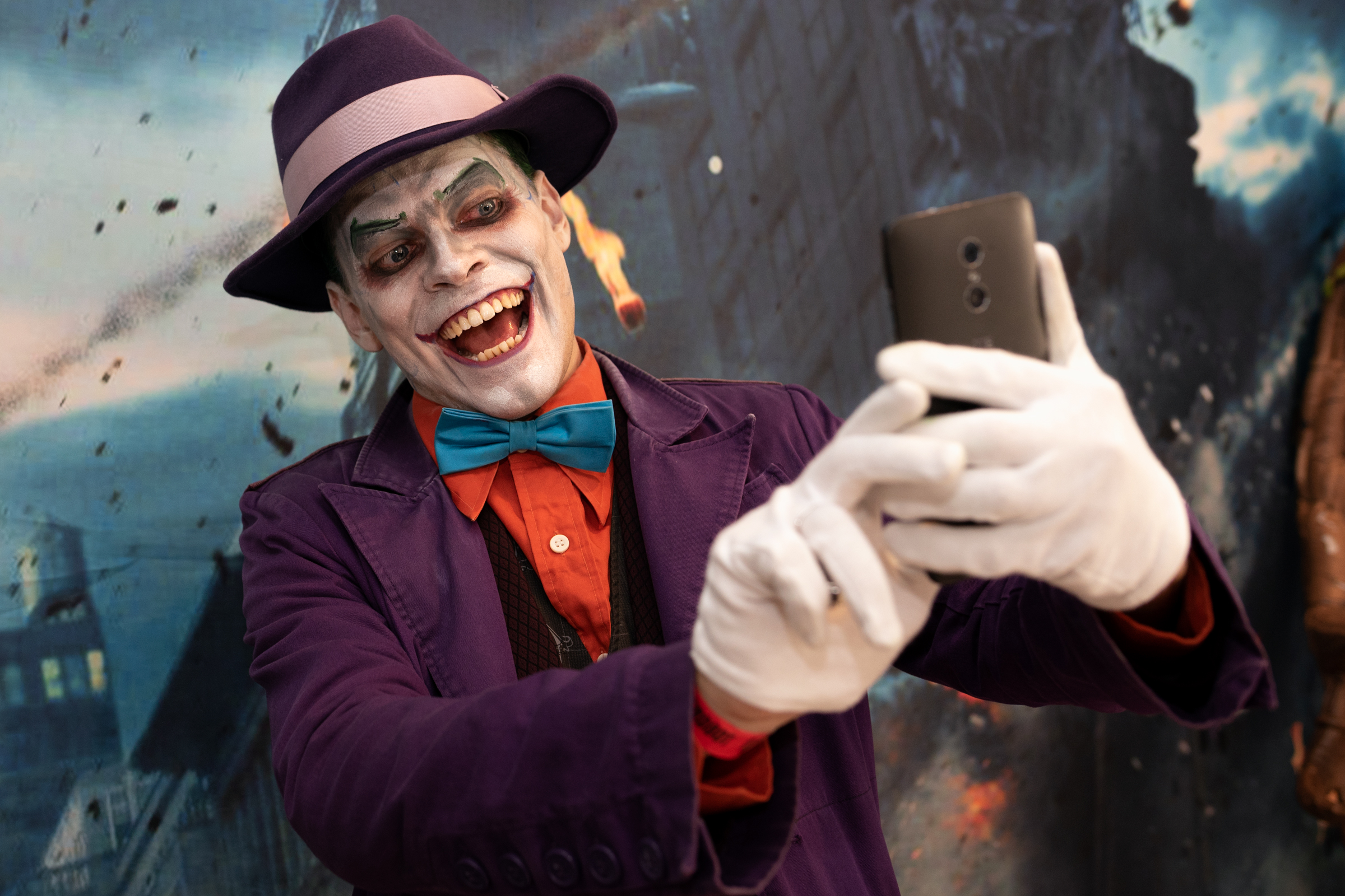 Cosplayer, Mark Dasinger Jr, as The Joker attends Nerdbot Con, a