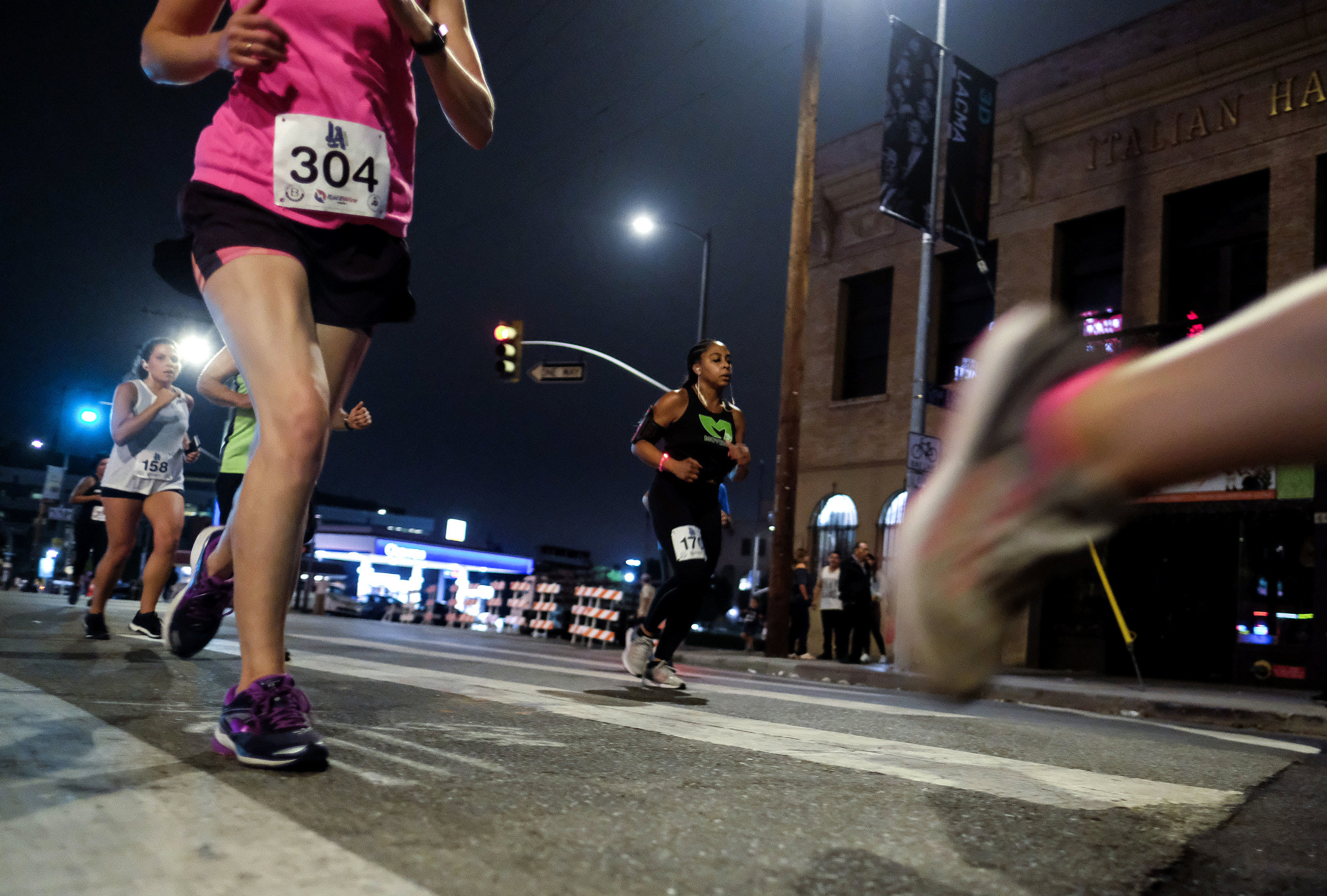 Participants run during the ``Happy Birthday L.A. 5K 2018'' in downtown Los Angeles, the United States on Sept. 2, 2018. Thousands of runners participated in the event to commemorate the Los Angeles City's 237th birthday.