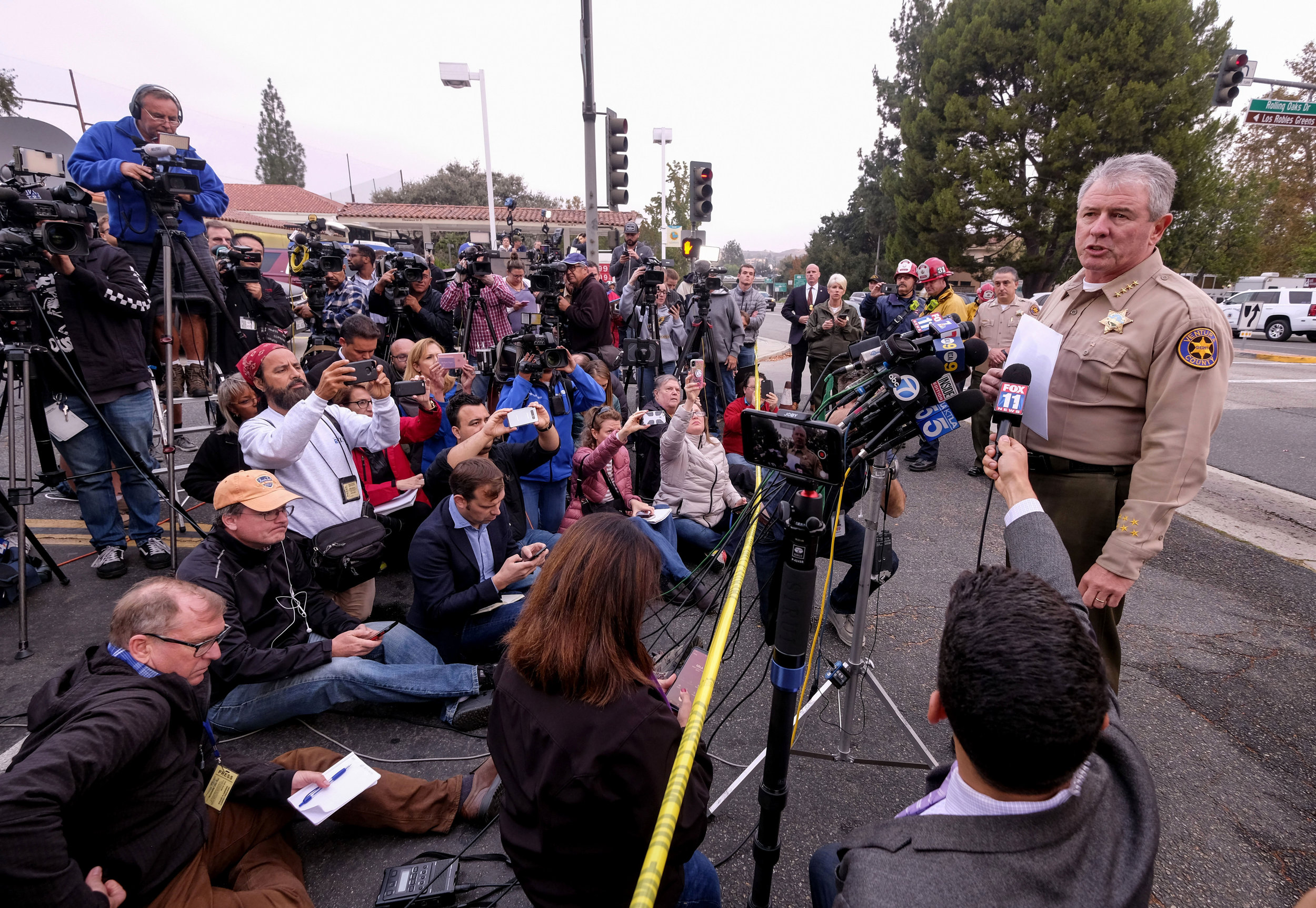 Ventura County Sheriff Geoff Dean speaks during a press conference after a mass shooting at a bar in Thousand Oaks, California, U.S. November 8, 2018.