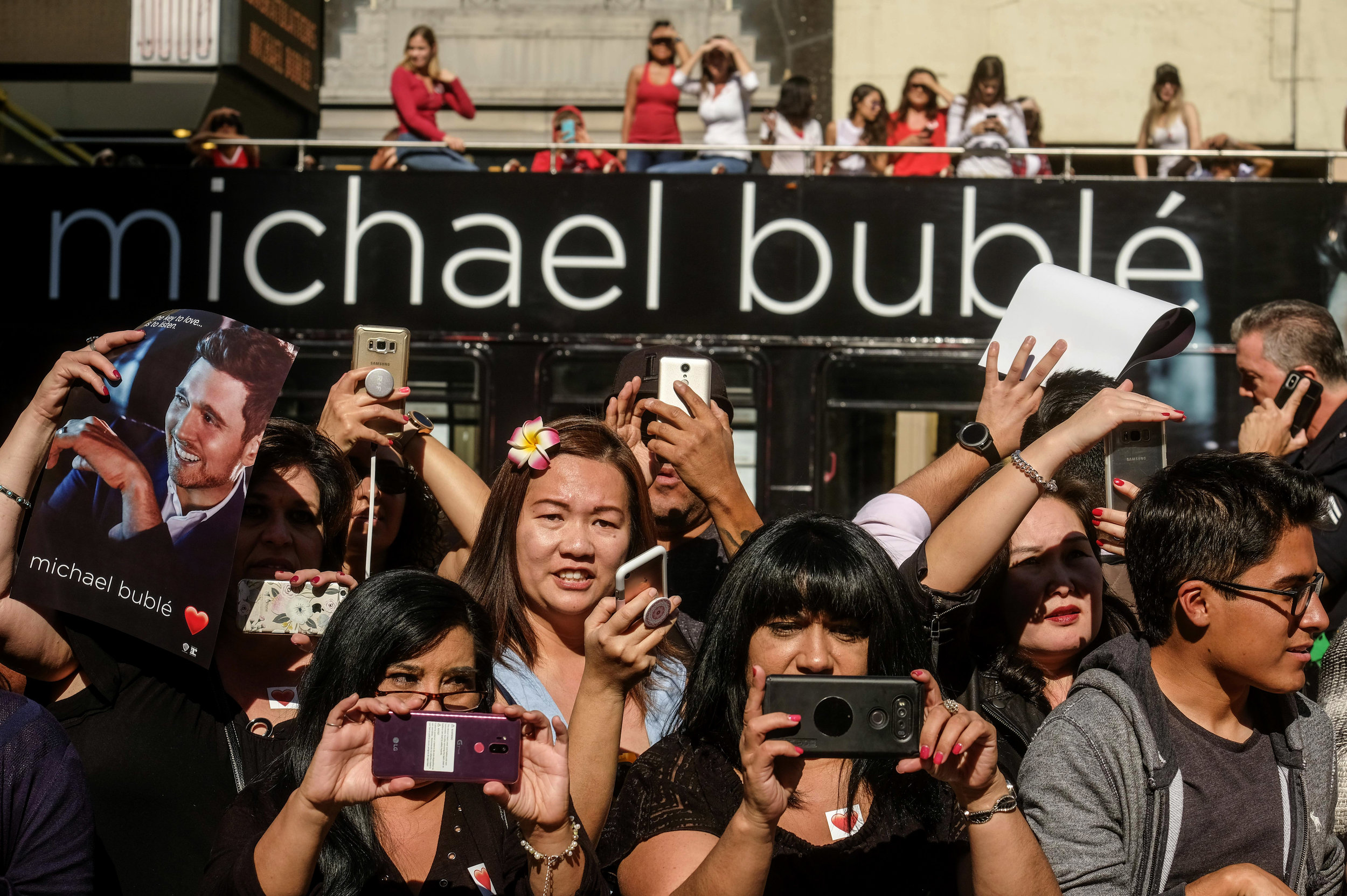 Fans attend singer Michael Buble's star ceremony on the Hollywood Walk of Fame Star where he was the recipient of the 2,650th star on the Hollywood Walk of Fame in the category of Recording on November 16, 2018 in Los Angeles.