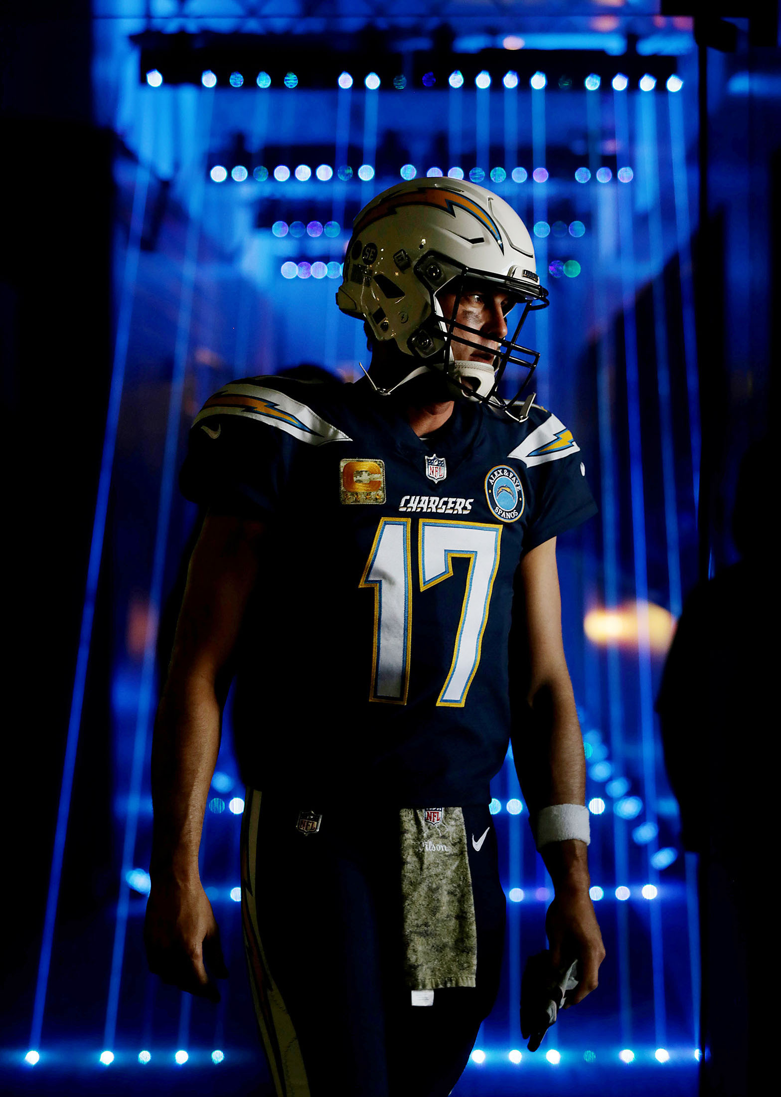 Los Angeles Chargers quarterback Philip Rivers #17 heads to the tunnel for player introductions before the first half of the game at StubHub Center in Carson on Sunday, November 18, 2018.