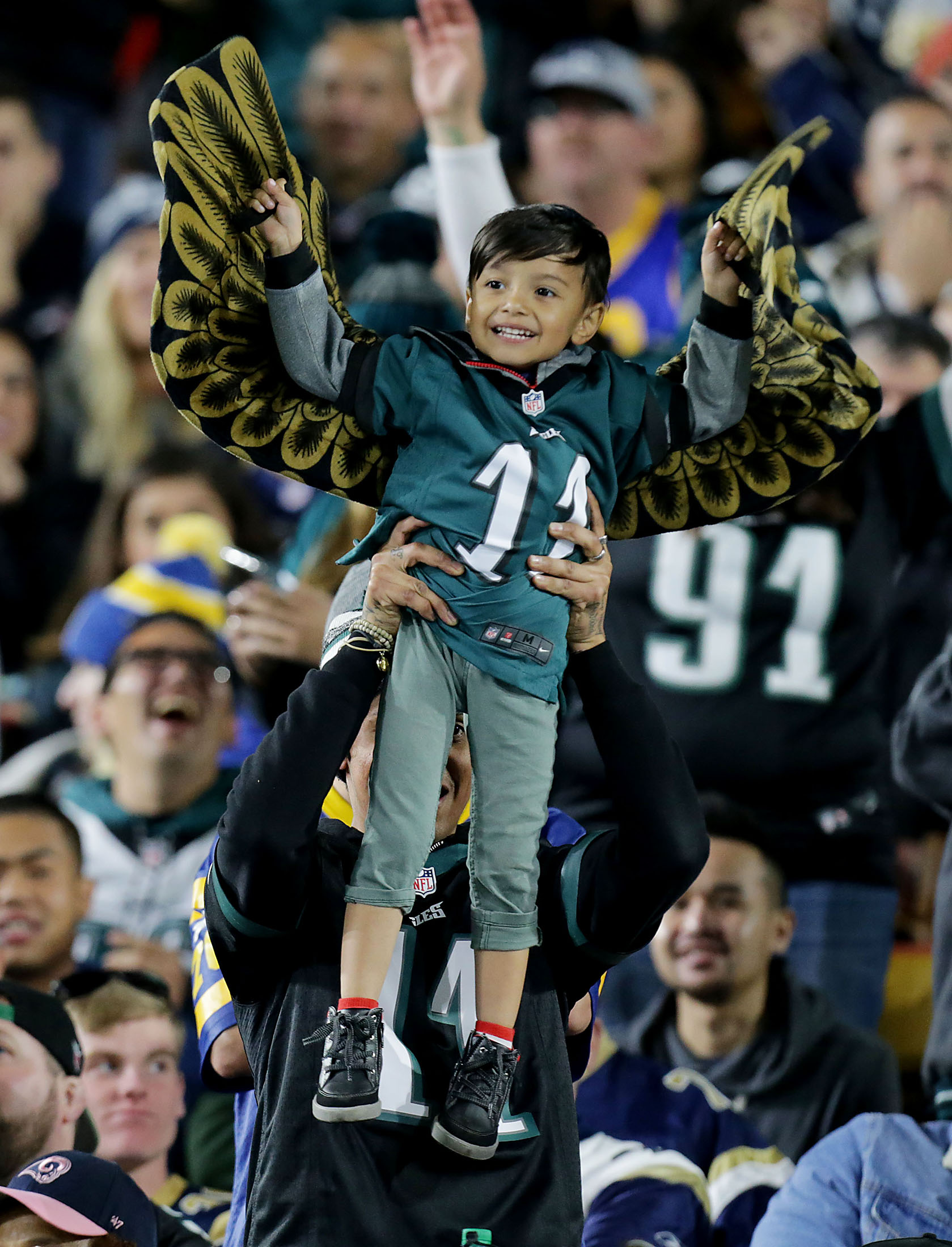 Philadelphia Eagles fans were flying after the a touchdown against the Los Angeles Rams in the second half of the game at the Los Angeles Memorial Coliseum in Los Angeles on Sunday, December 16, 2018.