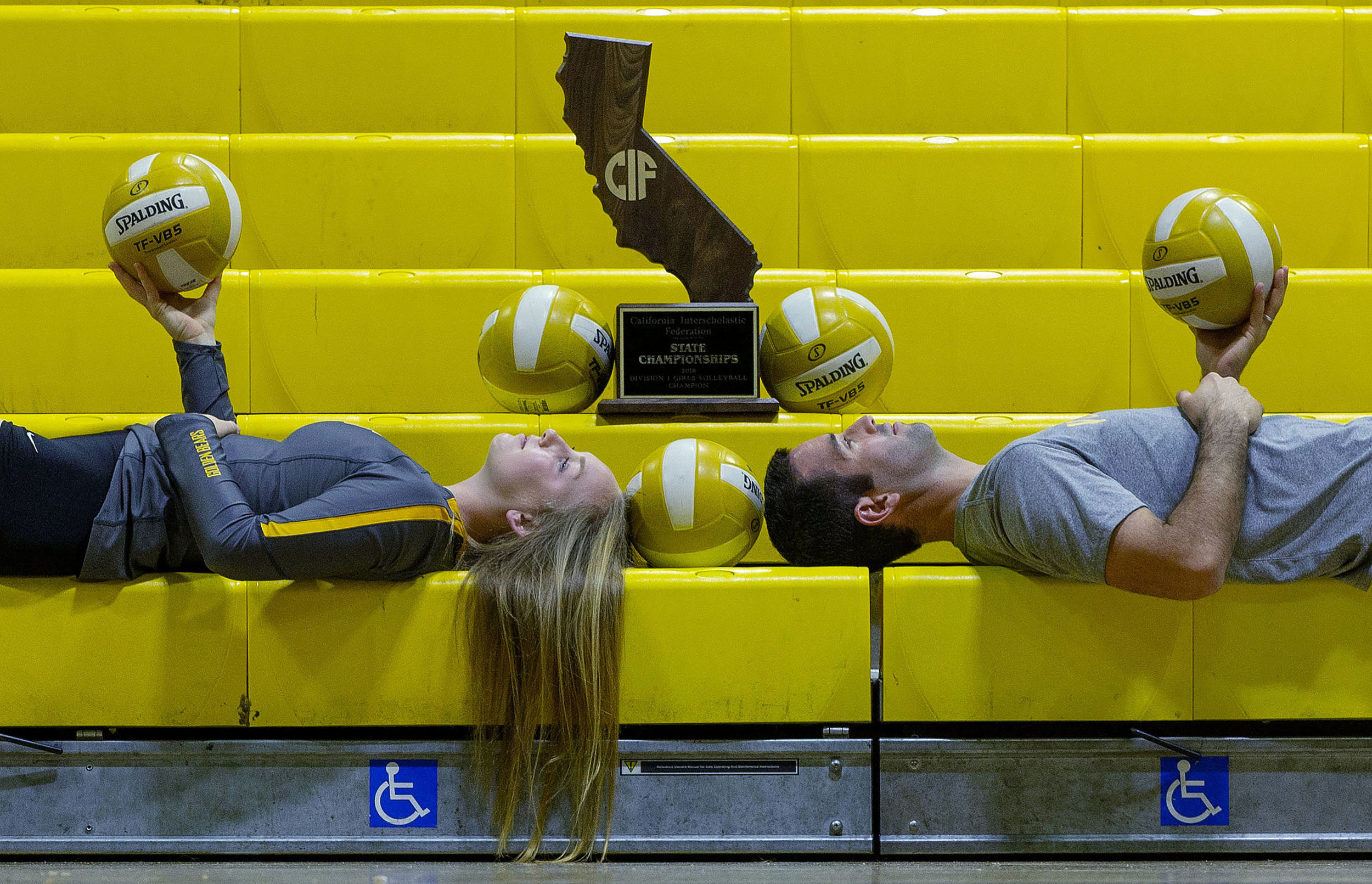 """Temecula Valley's Jordyn Amoy and Roberto """"Rafu""""  Rodriguez are The Press Enterprise's girls volleyball player of the year and coach of the year in Temecula on Thursday, December 13, 2018."""