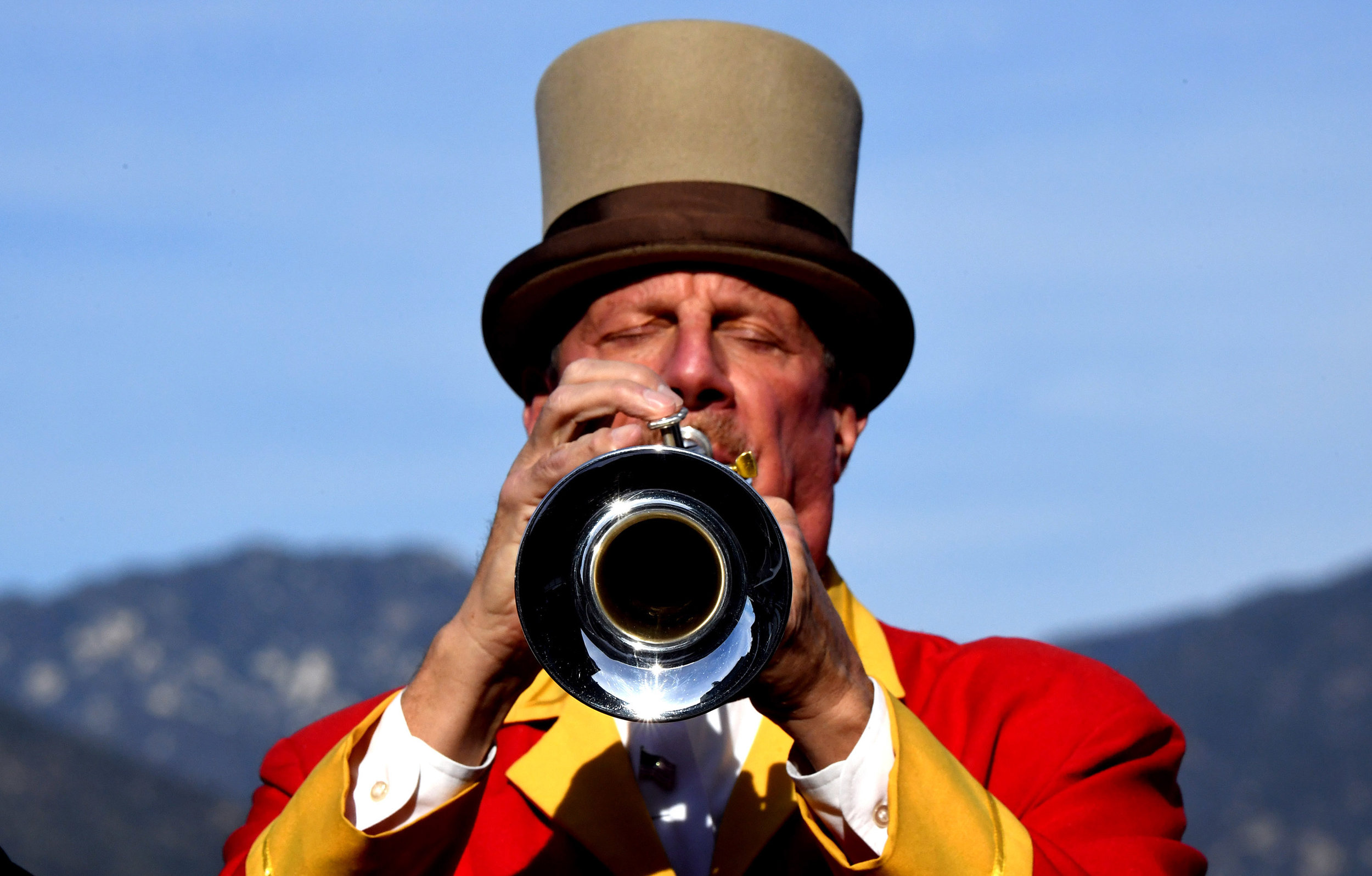 Horn Blower Jay Cohen performs during horse racing at Santa Anita Park on Wednesday, December 26, 2018 in Arcadia, California.