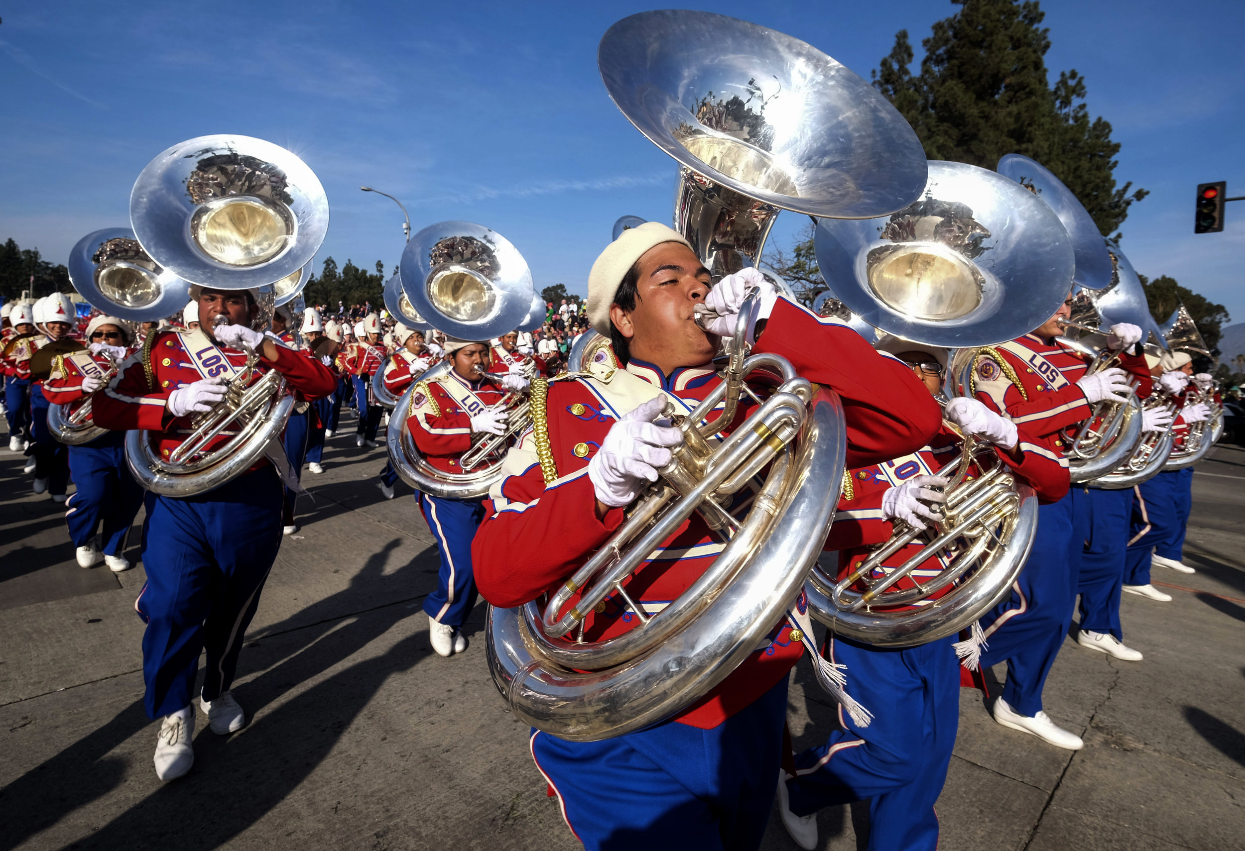 Members of Los Angeles All District High School Honor Band perform along Colorado Boulevard during 129th Rose Parade in Pasadena, California, the United States, Monday, Jan. 1, 2018.