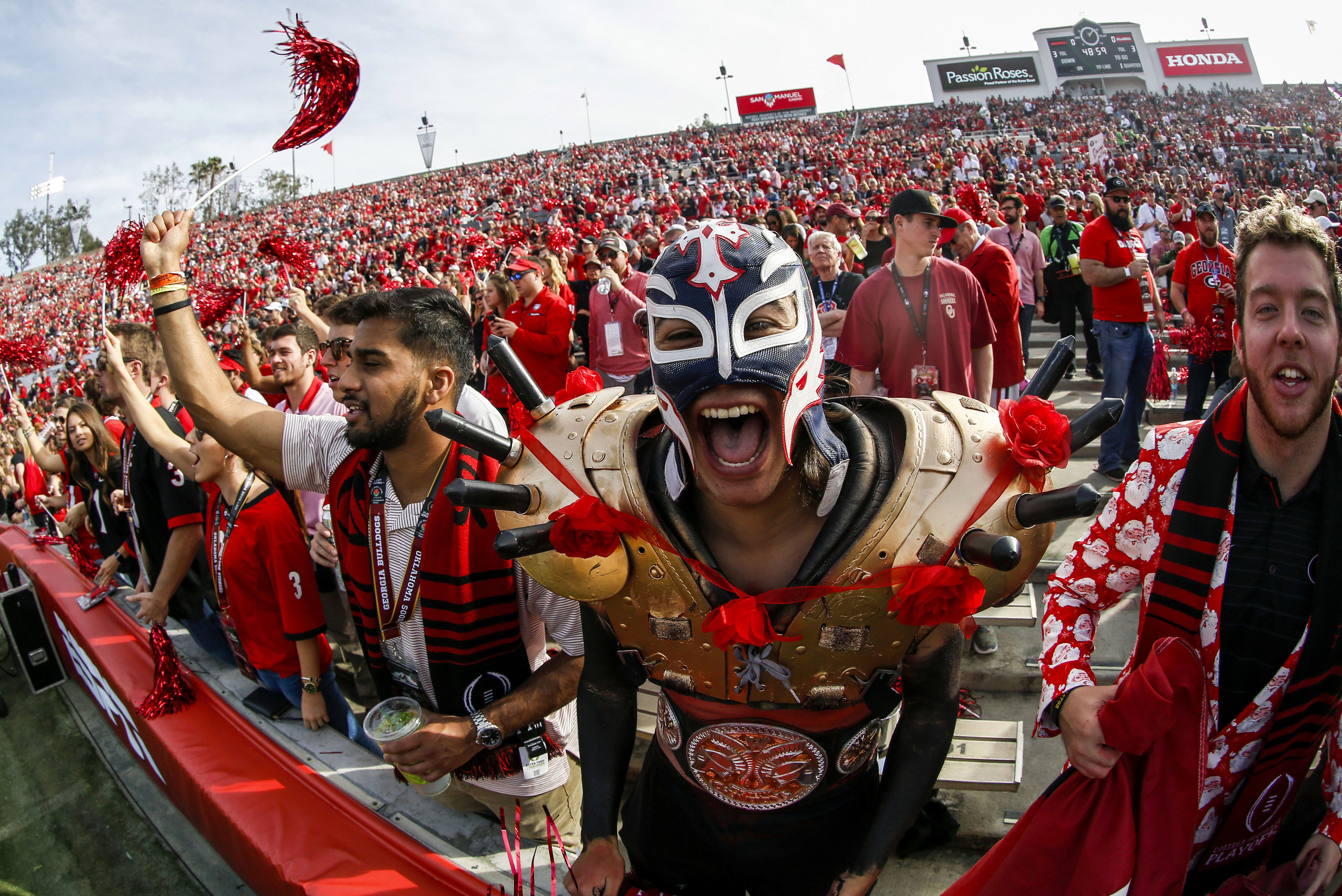 Fans of Georgia Bulldogs show their supports during the Rose Bowl NCAA college football game against Oklahoma Sooners Monday, Jan. 1, 2018, in Pasadena, California, the United States. Georgia Bulldogs won 54-48 in overtime.
