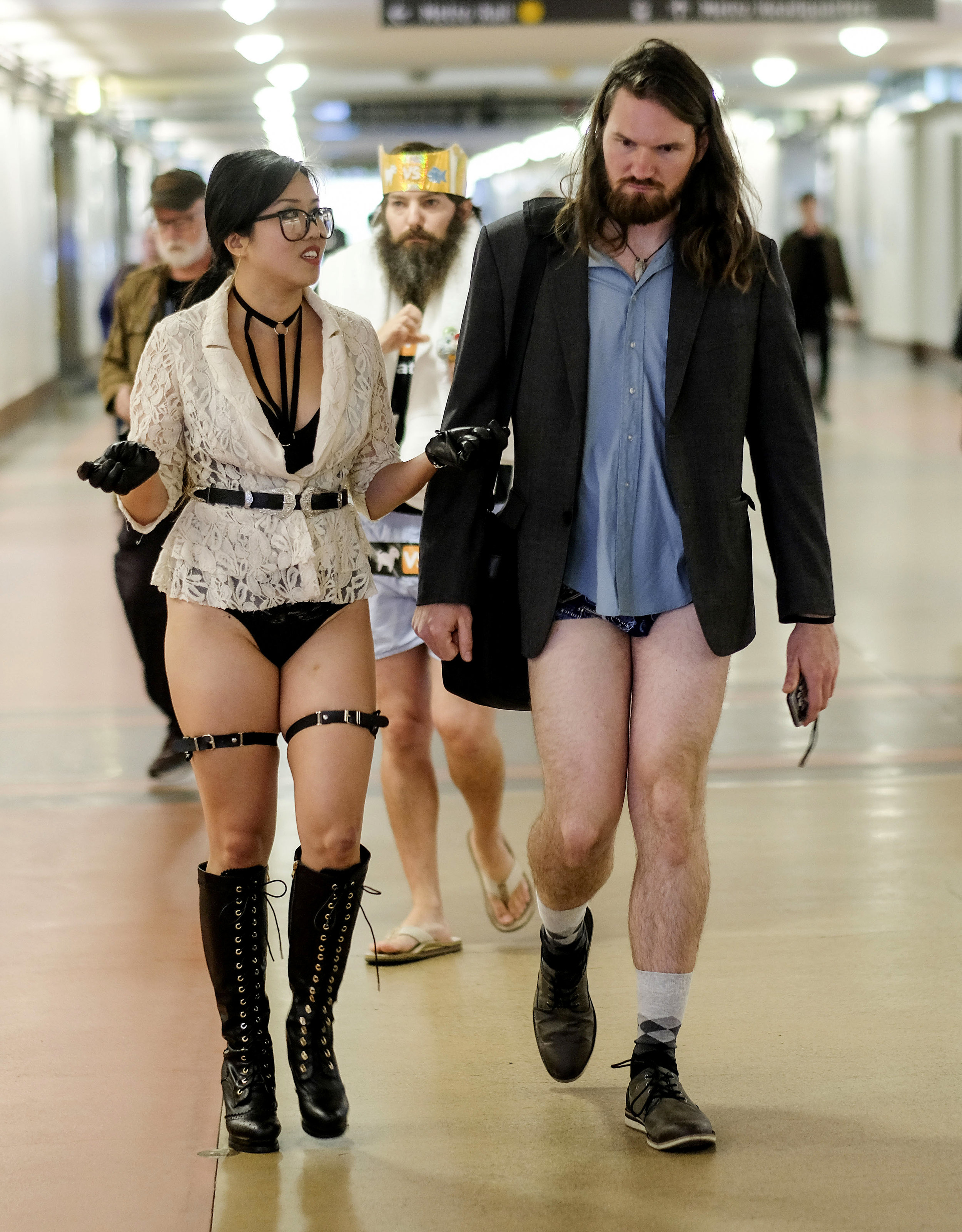 Participants in the 11th Annual No Pants Metro Ride at Union Station on January 13, 2019,  in Los Angeles.
