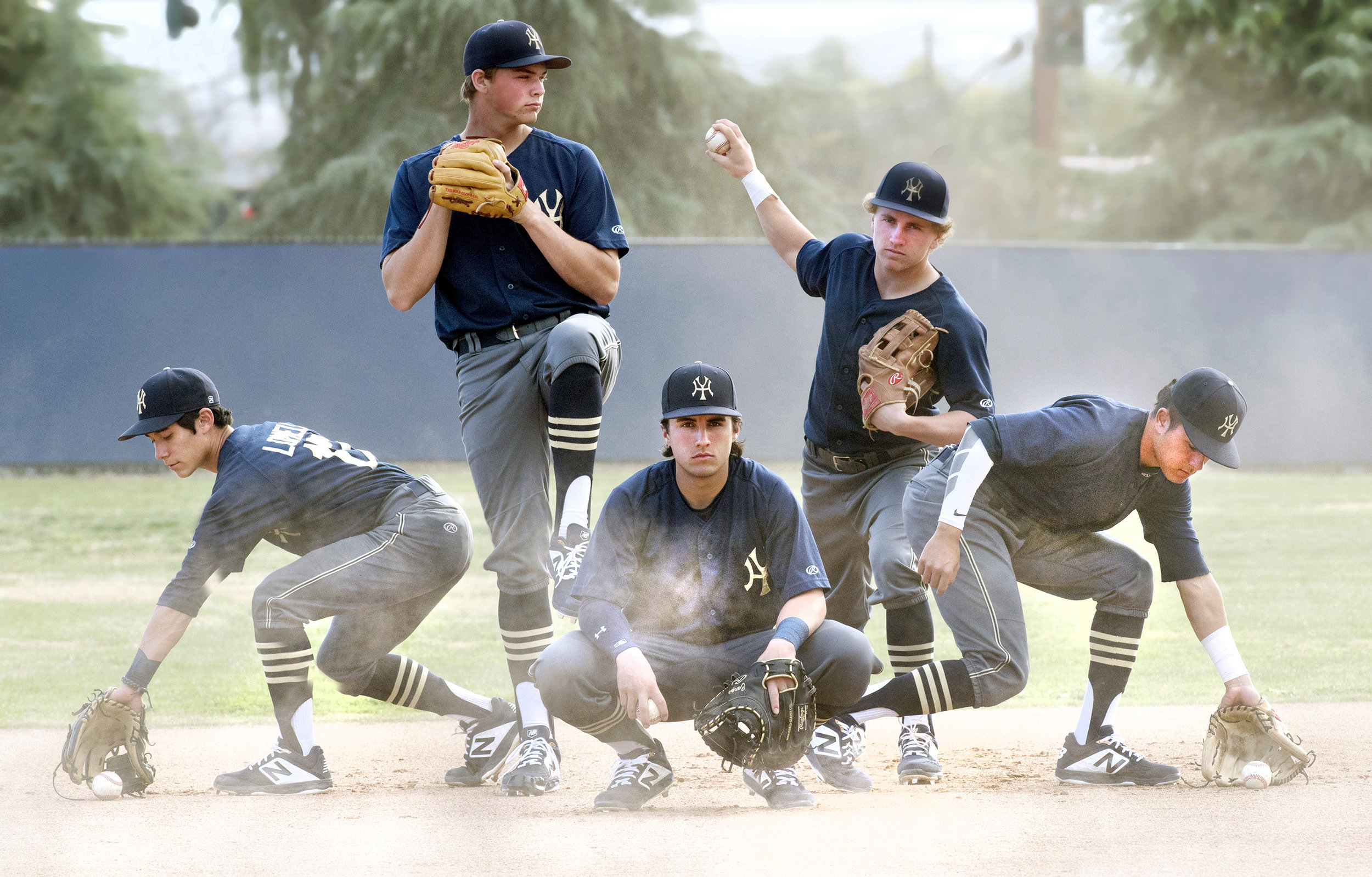 Yucaipa's last year starters who won the Division 2 title have been close friends and teammates since the sixth grade. The Thunderbirds, from left, shortstop Joseph Lomeli, 18, pitcher Tyson Heaton, 17, catcher Michael Carpentier, 18, outfielder Anthony Gibbons, 18, and second baseman Jordan Andrade, 17, will compete in Division 1 this season. Photographed at the Yucaipa high school Tuesday, Jan 29, 2019.