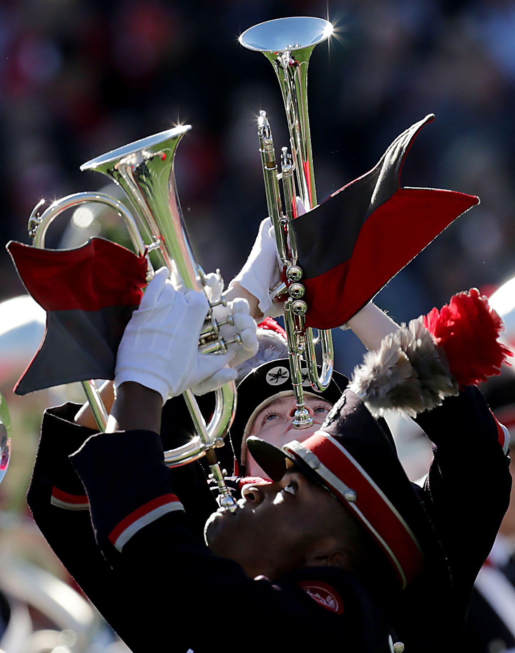 Members of the Ohio State Buckeyes marching band entertain the thousands of people attending the 105th Rose Bowl game before the start of the game in Pasadena on Tuesday, January 1, 2019.