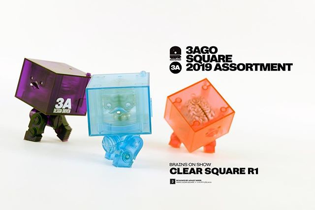 3AGO Clear Square R1 Set are coming May 10th to the WO3A.com!  Designed by @ashleywoodart  #3A #ThreeA #WO3A #Worldof3A #AshleyWood #WWR #WorldWarRobot #Squares #Boom #DesignerToys #Toys #Collectibles #Cute #Brains