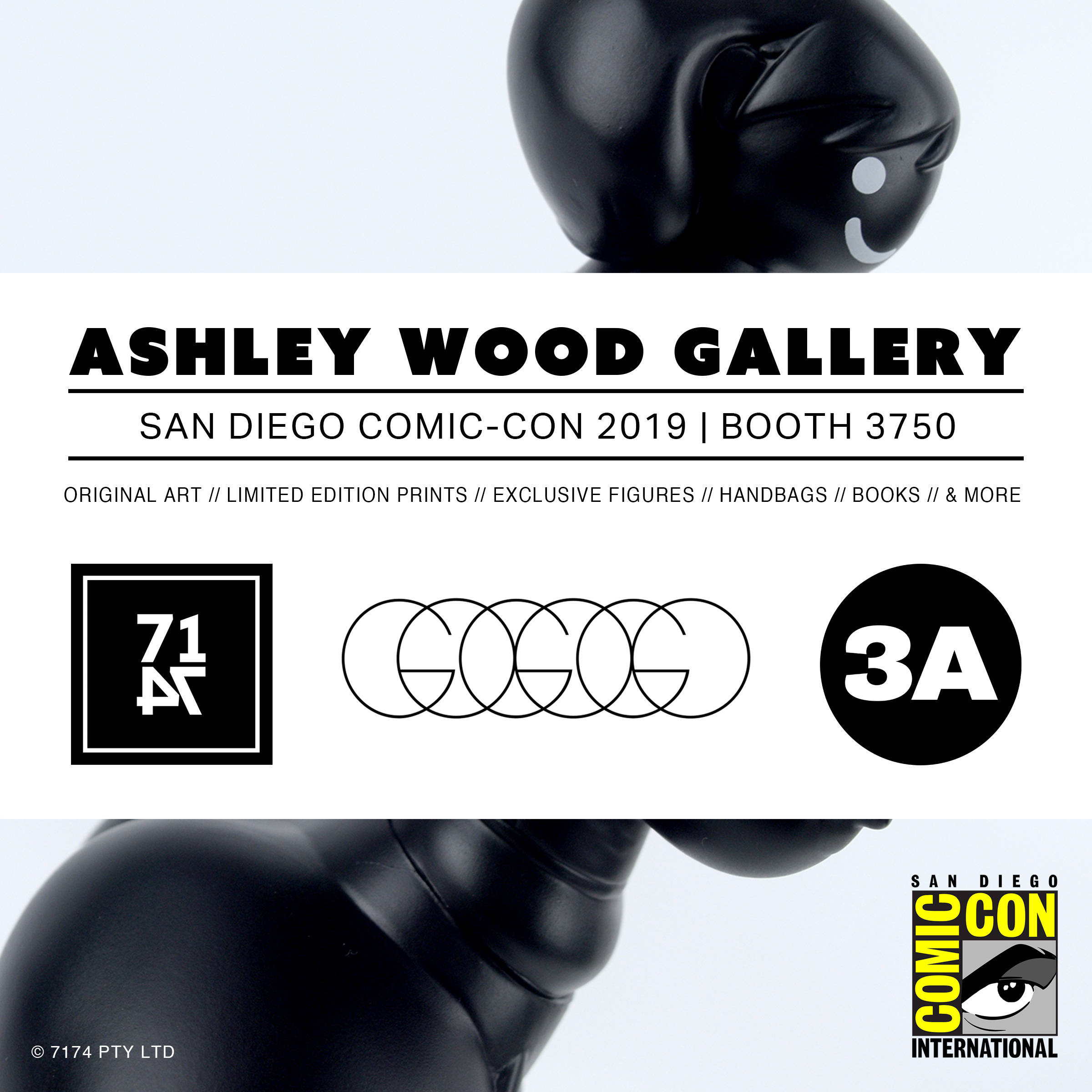 SDCC 2019 - 3A will be attending this year's SDCC at the Ashley Wood Gallery Booth 3750!Exclusive Figures including the very last Fang Gals, Show Edition Ultra TK's, and a small supply of Stock Figures will be available for sale at the booth. Original Art, Limited Edition Prints, Exclusive Figures, Handbags from GoGoGo, Books, & more!