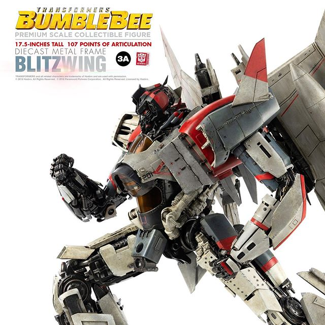 Hasbro and 3A are proud to present the villainous Blitzwing in Premium Scale from the critically acclaimed Transformers Bumblebee film!  Pre-orders launch July 17th, 2019 and will be available at WO3A.com, ThreezeroHK.com, and 3A Stockists Worldwide!  Premium Scale figures are 3A's top of the line large format collectibles featuring ultra-detailed sculpts, extraordinary amounts of articulation for maximum poseability, LED illuminated details, die-cast metal parts, and expert paint weathering!  Standing 17.5inches tall, the Premium Scale Blitzwing features 107 points of articulation including articulated fingers, LED illuminated eyes and afterburners! Blitzwing comes equipped with the deadly Electron Spike Blade and interchangeable arm with Null-Ray Blaster as seen in the film! Premium Scale Blitzwing also features a Die-cast Metal Frame adding an incredible weight and finish to the already impressive visual presence the figure emanates!  HASBRO X 3A PRESENTS: