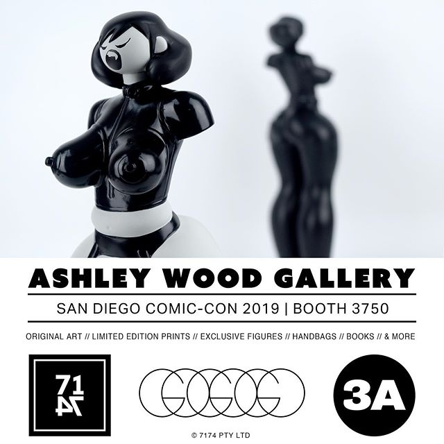 #SDCC! 3A will be at the Ashley Wood Gallery Booth 3750! Exclusive Figures including the very last Fang Gals, Show Edition Ultra TKs, and a small supply of Stock Figures will be available for sale at the booth. More details soon.  @AshleyWoodArt is bringing a choice selection of Original Art, Limited Edition Prints, and Exclusive FAW Pelican books. Ash will be in attendance Weds and Thursday.  @WorldofGoGoGo will also have a limited stock of Purses, Pet Star Clutches, LP Bags, and Patches! . . . .  #SDCC2019 #AshleyWood #AshleyWoodGallery #Booth3750 #SanDiego #ComicCon #FangGals #TomorrowKings #GoGoGo #DevilySiu #worldof3A #ThreeA #3A #WorldofGoGoGo #Adventure #DesignerToys #Toys #7174publishing