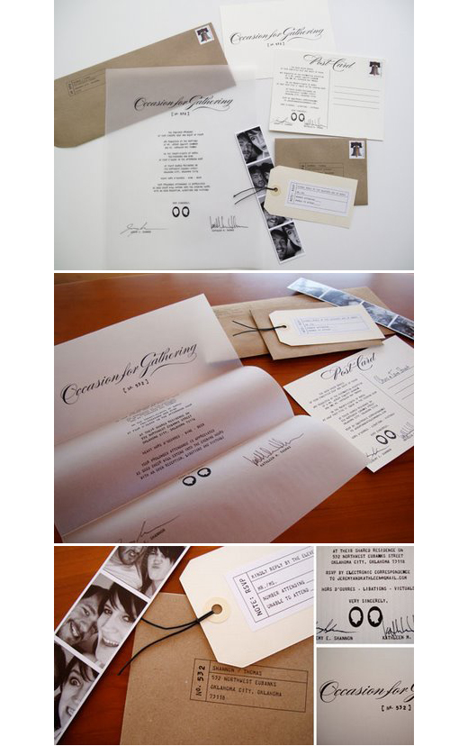 very unusual, yet beautiful   wedding suite  . a letter with their signatures + a photo strip +  RSVP   on a tag = swoon.
