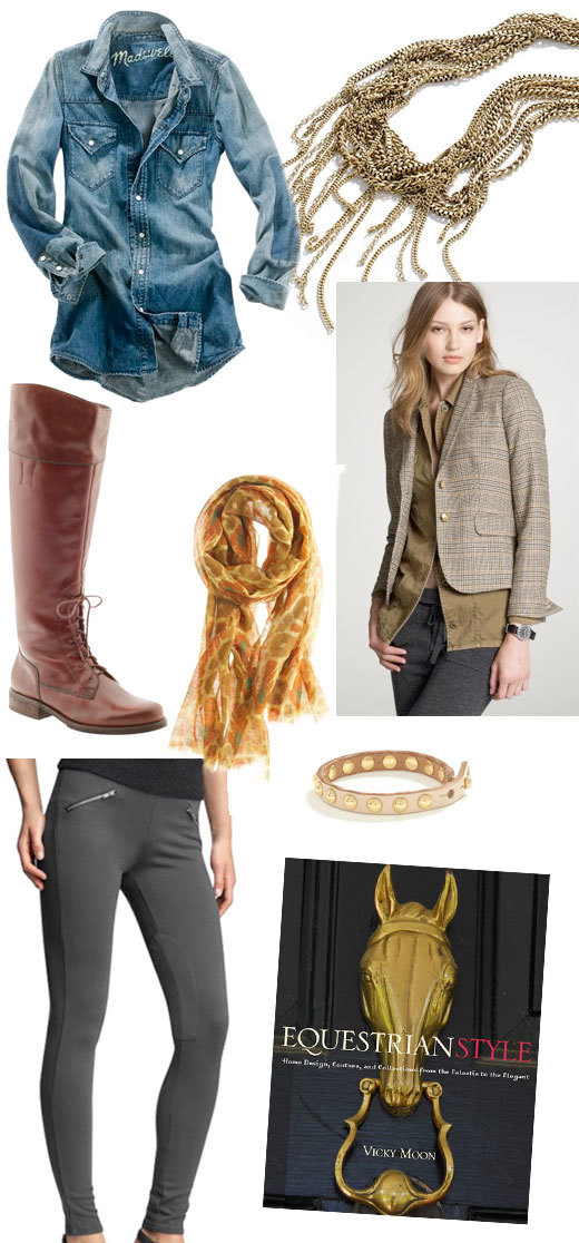 chambray shirt  |  necklace  |  flat boot  |  scarf  |  jacket  |  riding leggings  |  bracelet  |  book