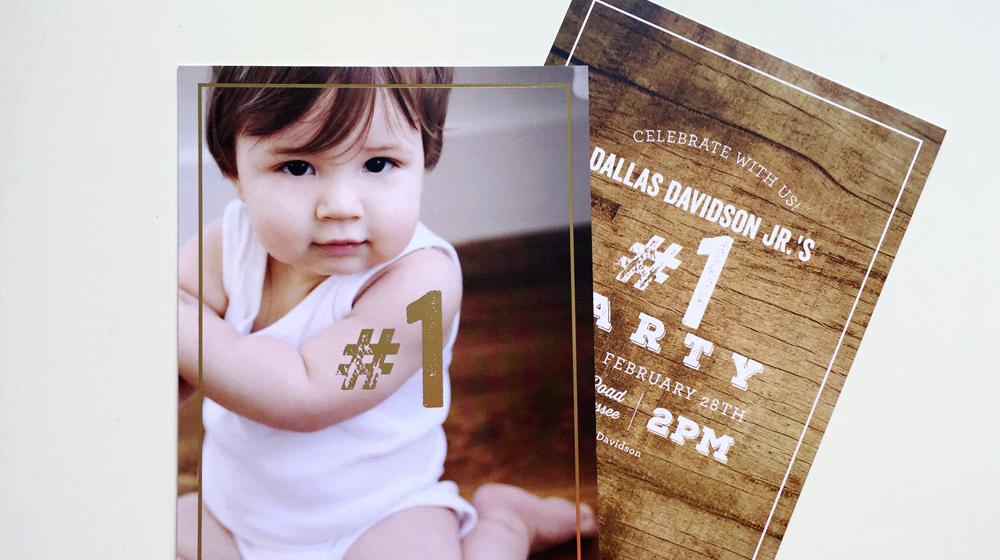 gold foil birthday invitation