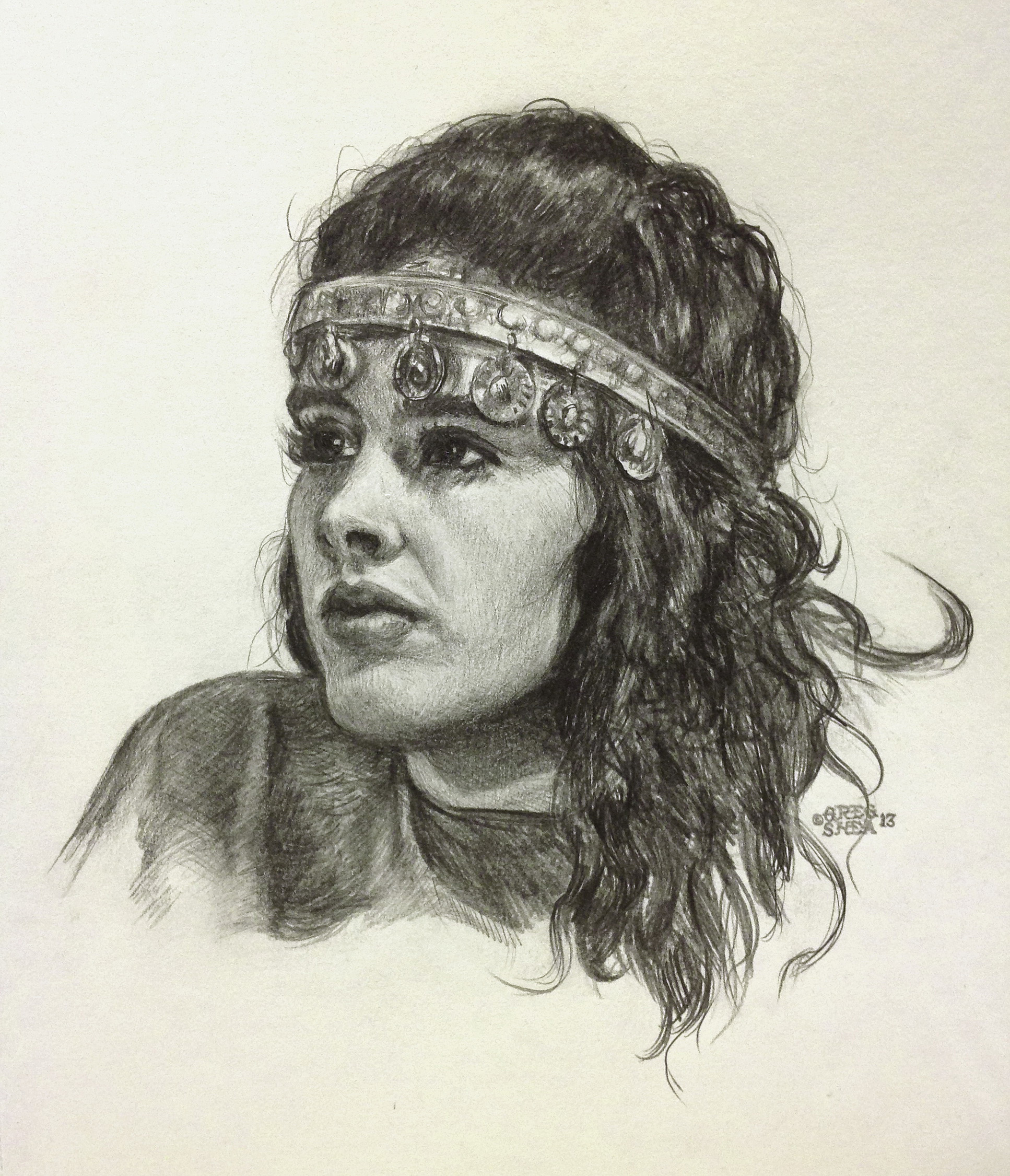 Girl With Circlet  , head study, 2013 Graphite on paper. Available for purchase.