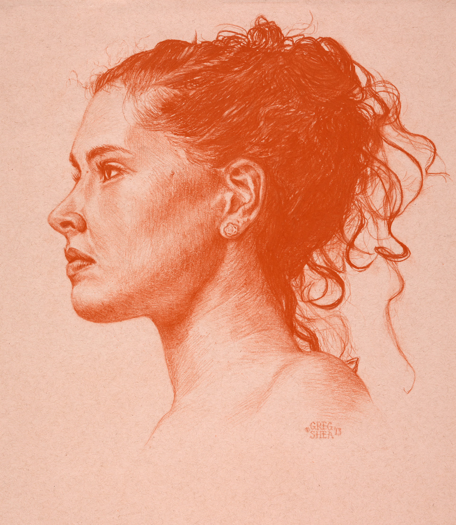 "Cara  , 2013. Pastel pencil on tan toned paper, 13 1/2 x 15 1/2"". Available for purchase."