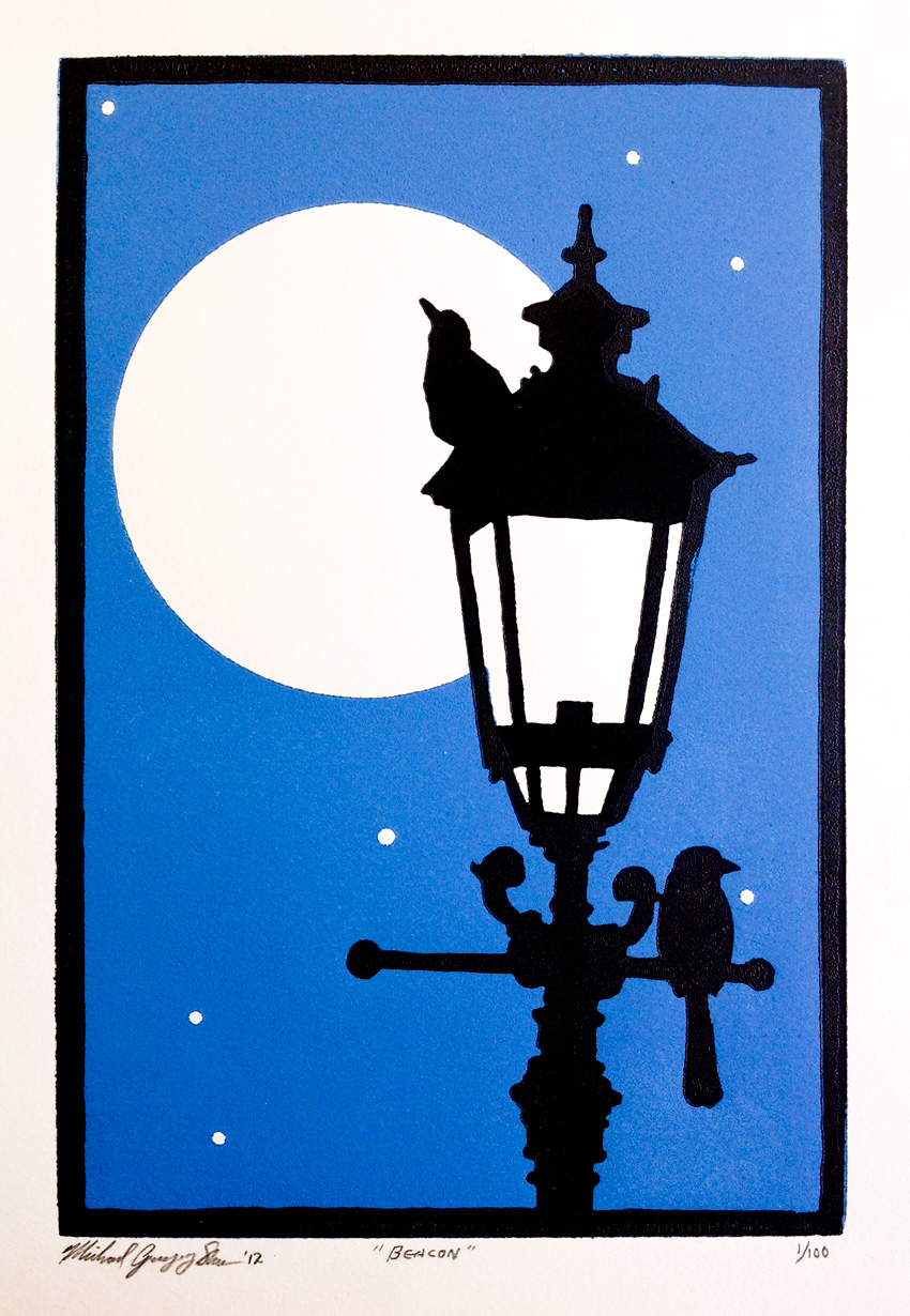 """Beacon  , 2012. Linoleum block print 6 x 9"""", edition of 100. Sold out."""