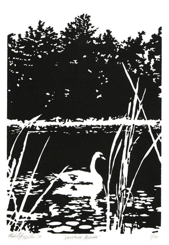 """Lacustrine Autumn  , 2010. Linoleum block print 6 x 9"""", edition of 100. Available for purchase."""
