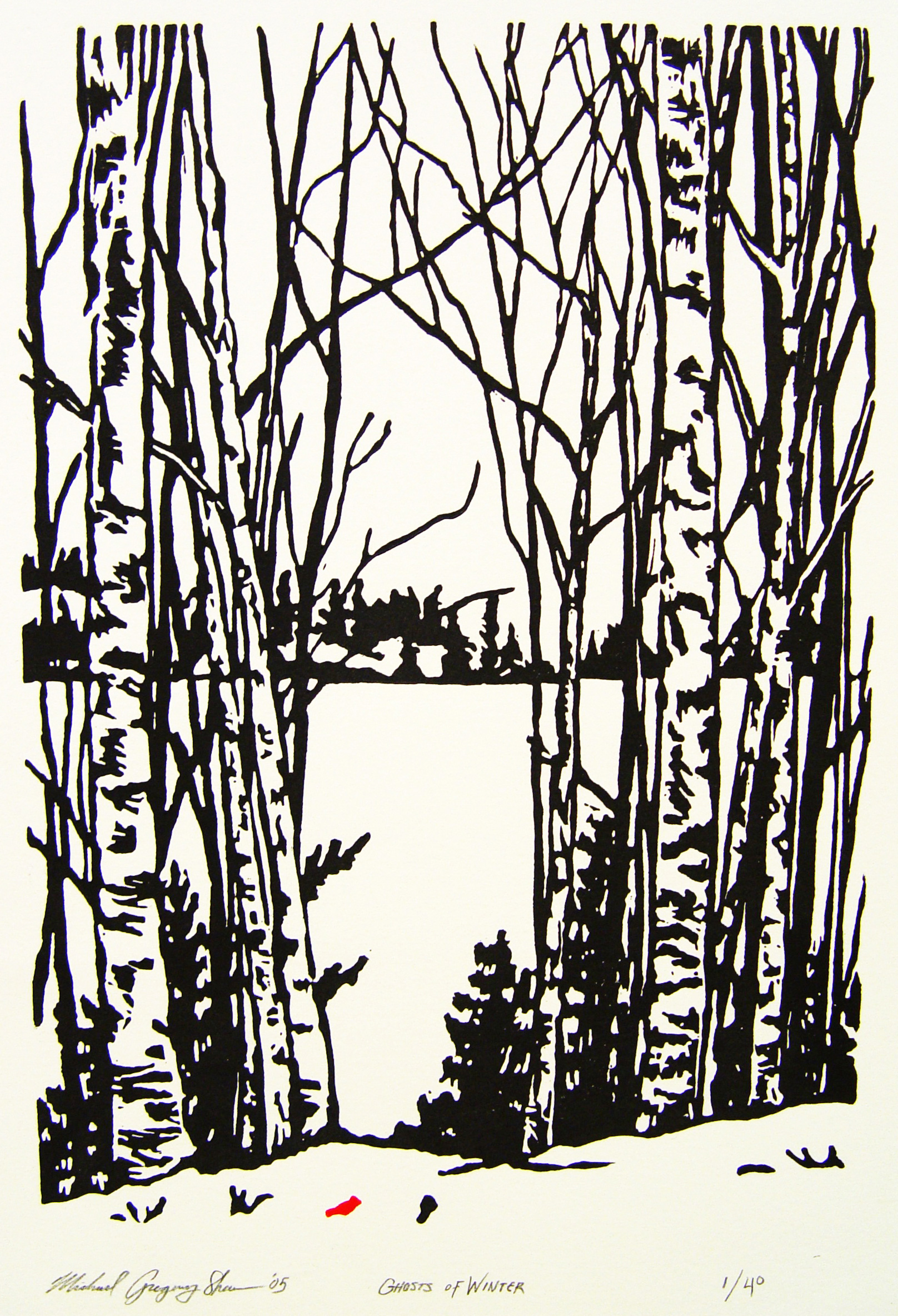 """Ghosts Of Winter  , 2005. Linoleum block print 6 x 9"""", edition of 40.  Sold out."""