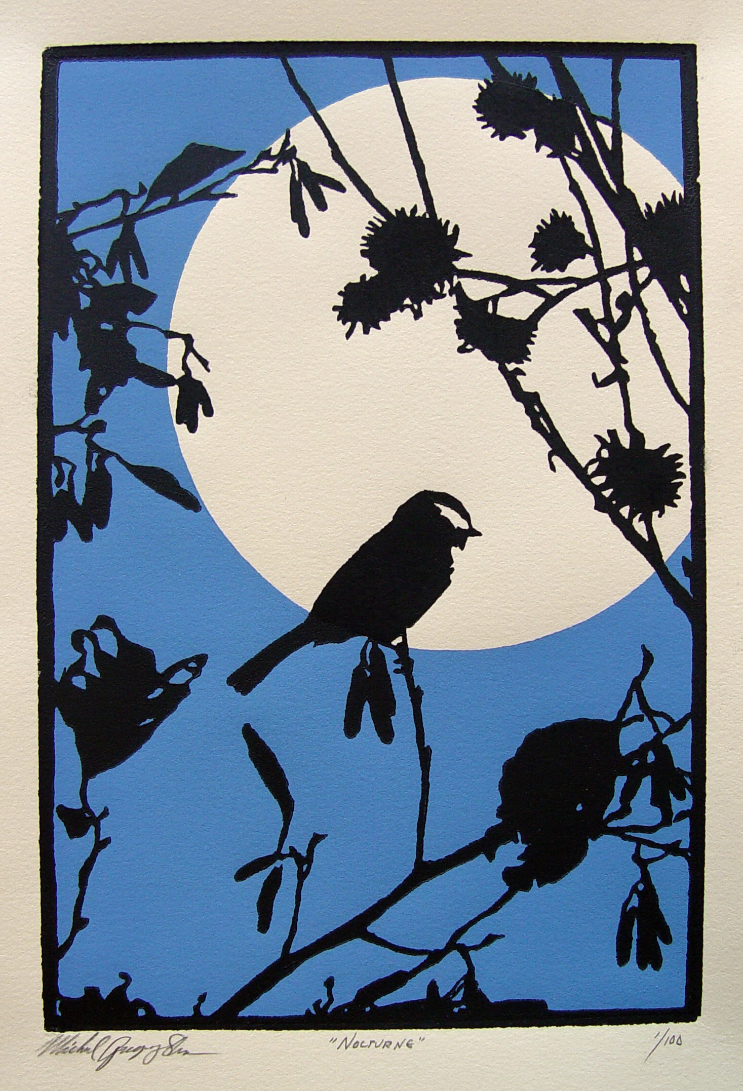 """Nocturne  , 2011. Linoleum block print 6 x 9"""", edition of 100.  Sold out."""
